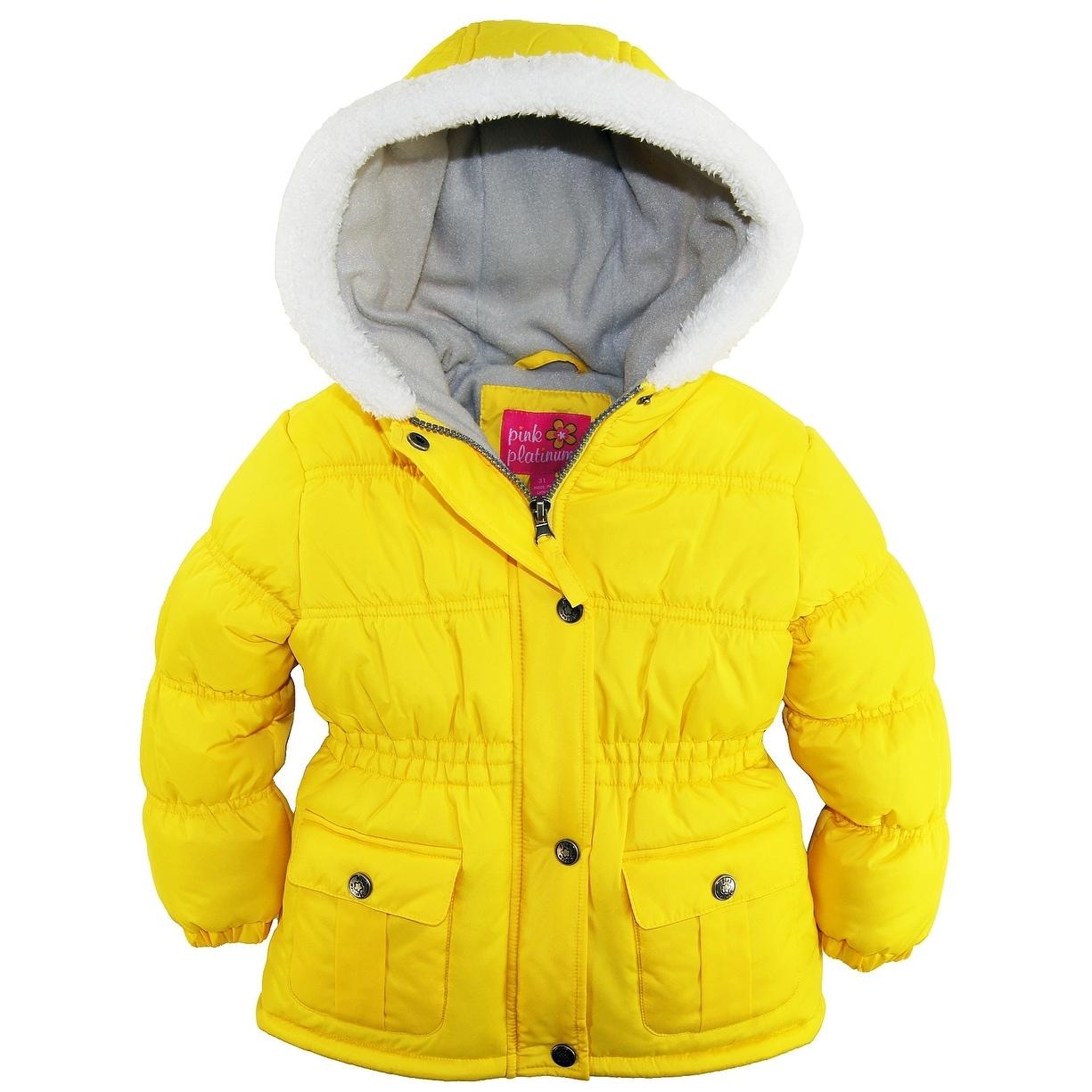 418f88168 Shop Pink Platinum Girls Sherpa Trim Hood Solid Puffer Winter Snow ...