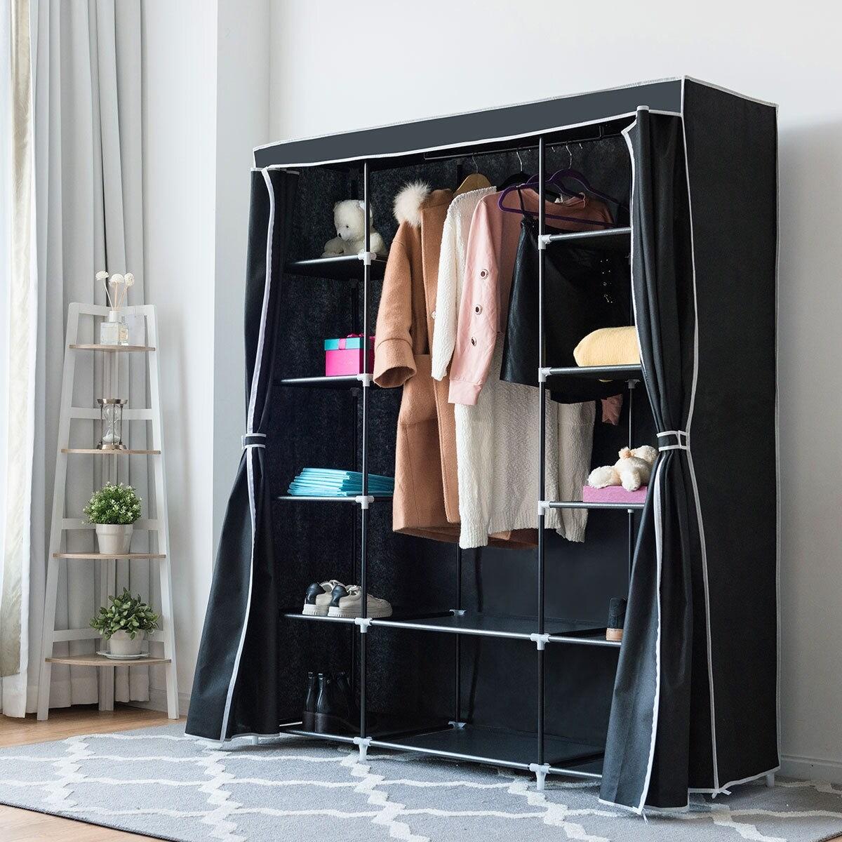 shop costway portable clothes closet non woven fabric wardrobe rh overstock com 60 inch high wardrobe closet 60 wide wardrobe closet