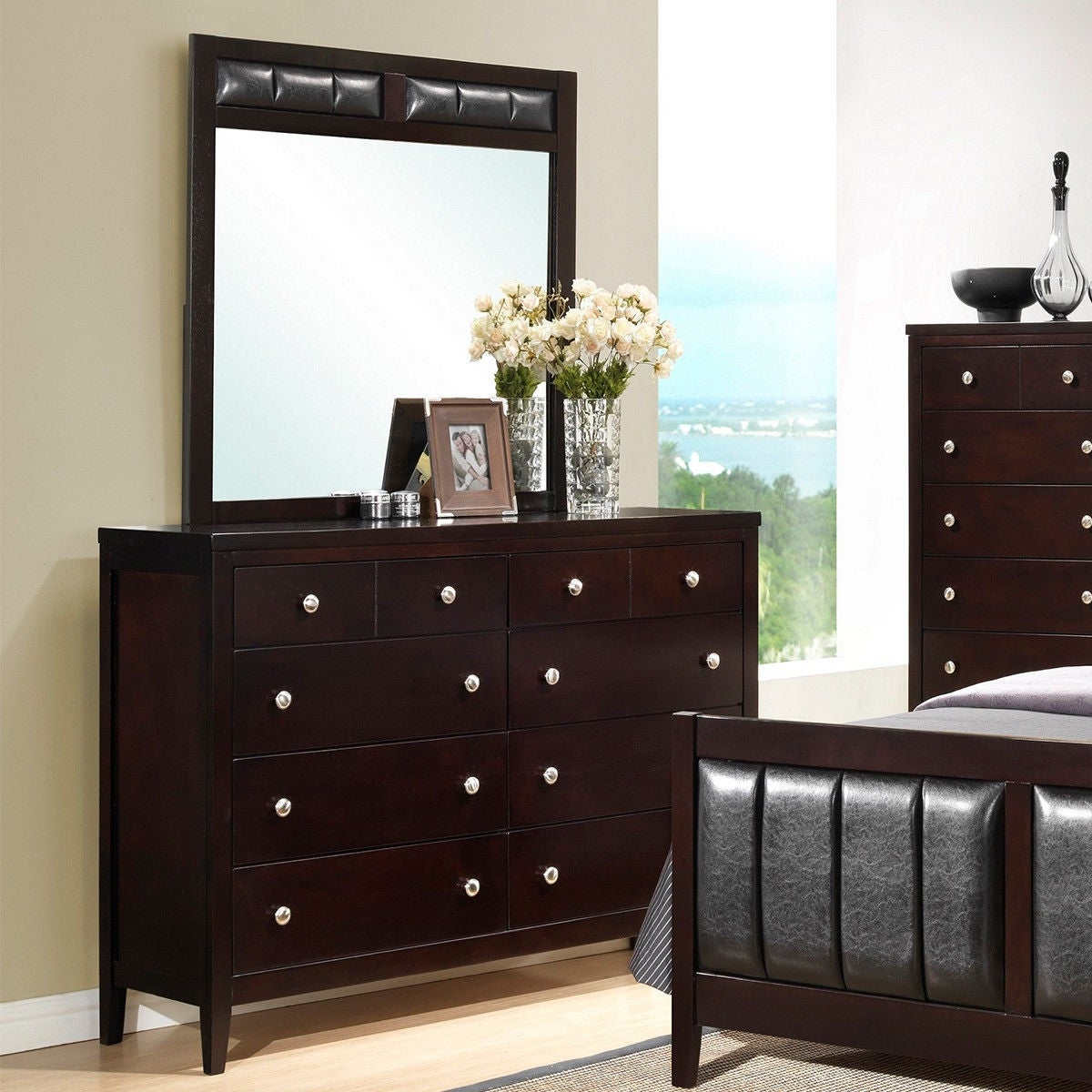 Shop costway 10 drawers dresser mirror set chest cabinet luxury home furniture storage black free shipping today overstock com 25745162