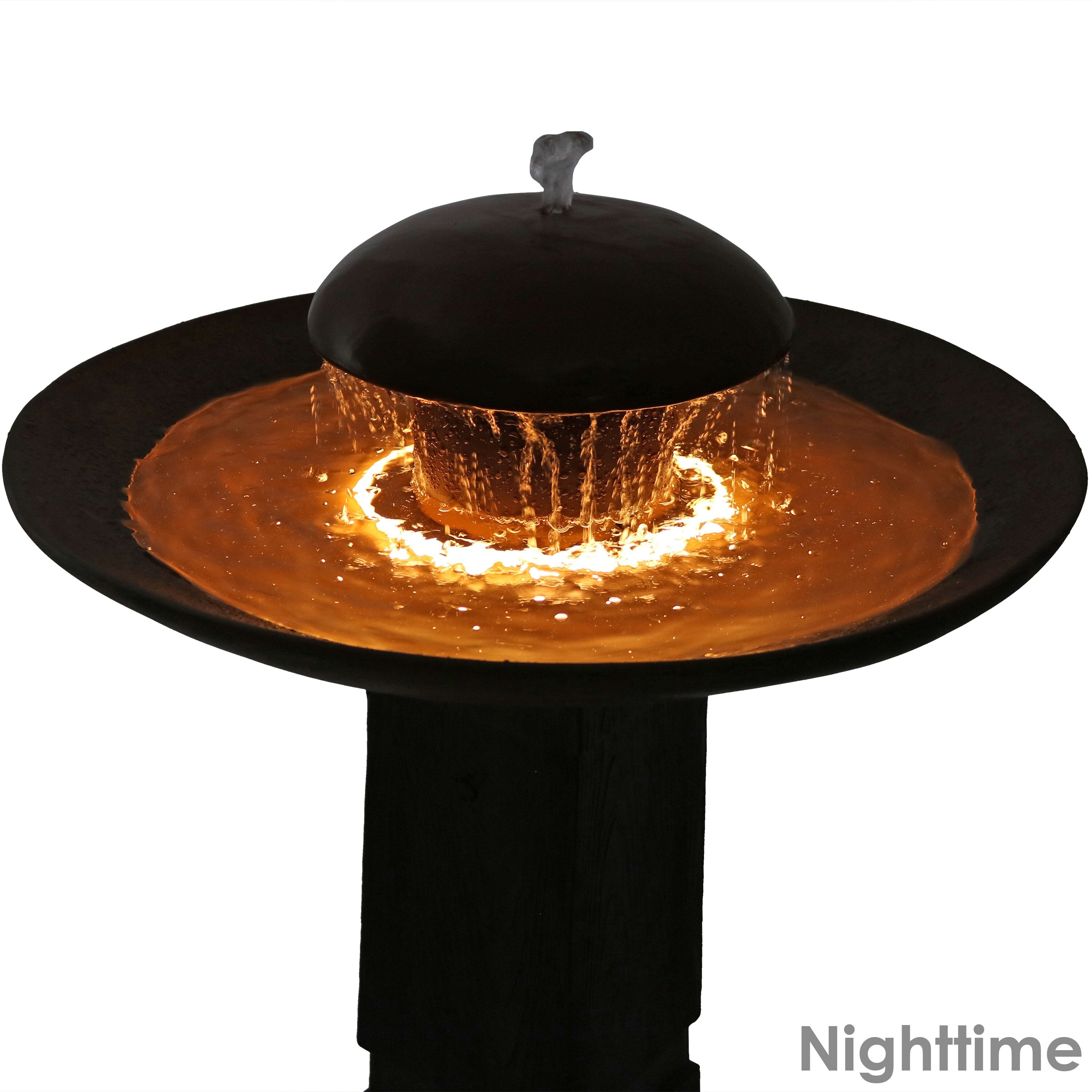 Shop Sunnydaze Domed Shower Outdoor Birdbath Water Fountain with LED on bar signs, bar pendants, bar neon, bar cabinet lighting, bar accessories, bar lamps, bar chandeliers, bar lighting fixtures, bar granite countertops,