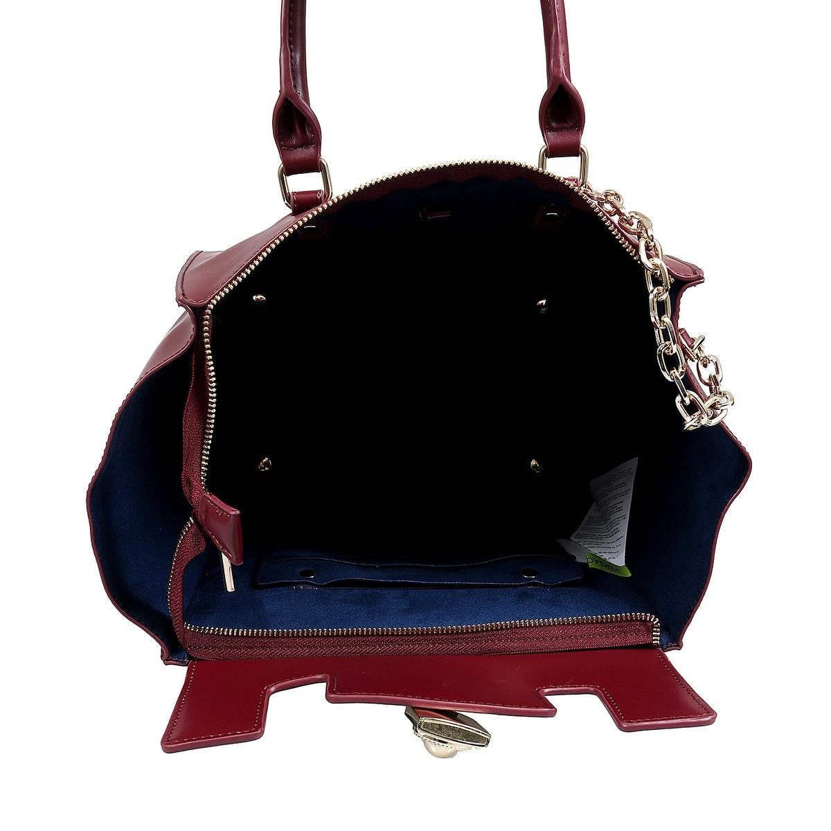 4fe8c04e9d Shop Versace EE1VSBBG6 EJ31 Maroon Satchel Bag - 17-9-7.5 - Free Shipping  Today - Overstock.com - 25601355