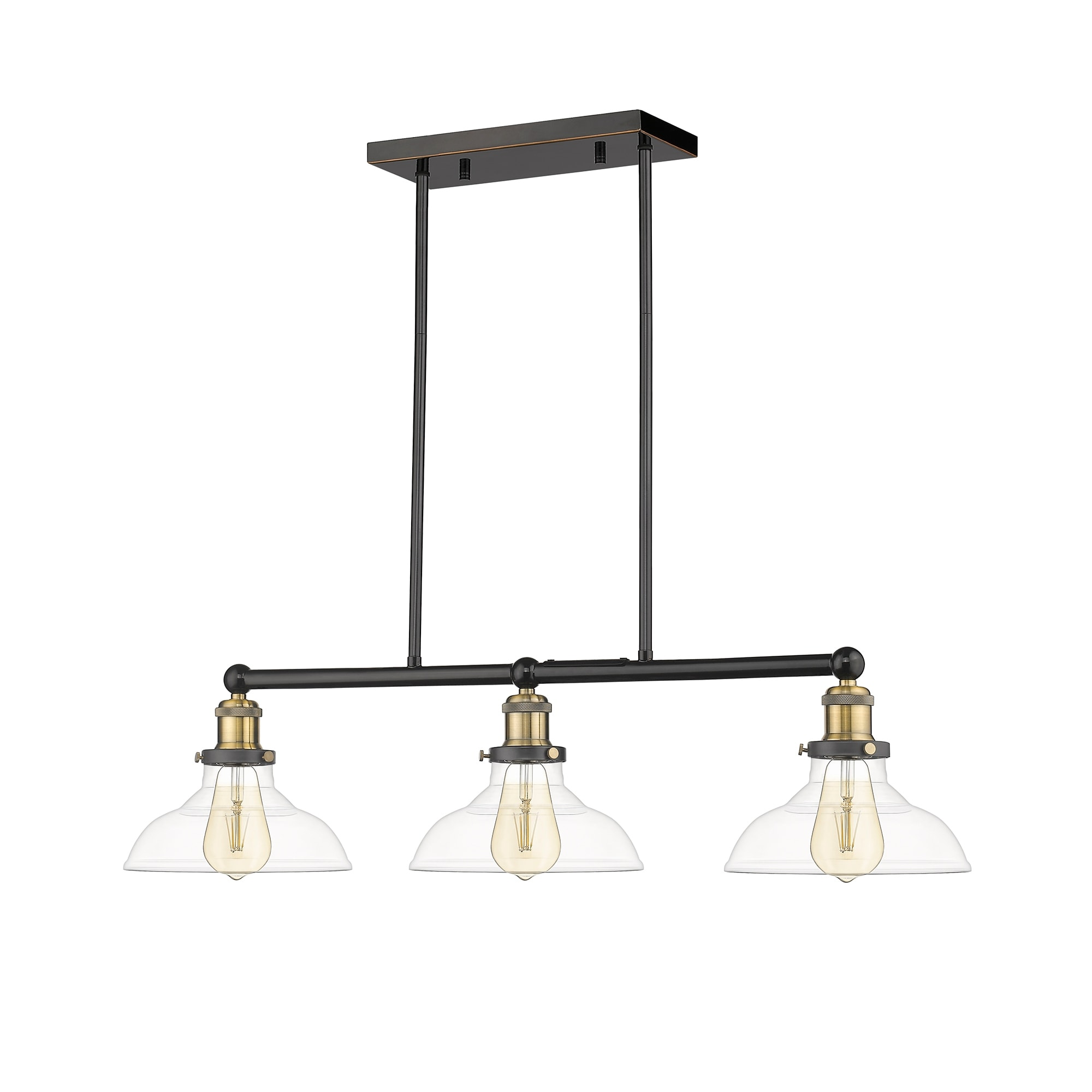 Shop Ove Decors Elgin Iii 3 Light Adjustable Kitchen Island Linear Led Pendant In Black And Brass Accents 8 25 H In Overstock 30925640