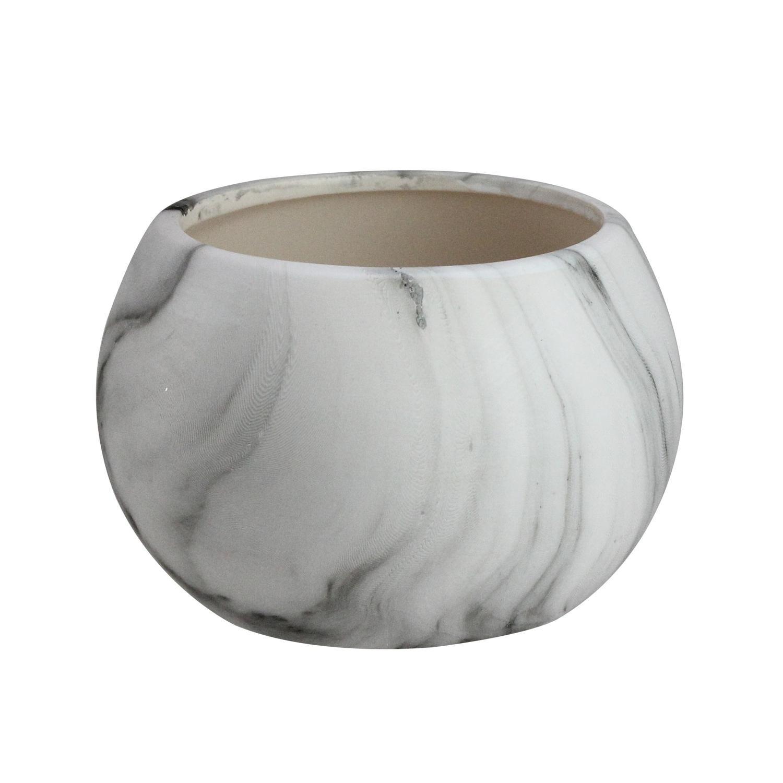 5 Gray Faux Marble Finish Decorative Contemporary Ball Ceramic Planter