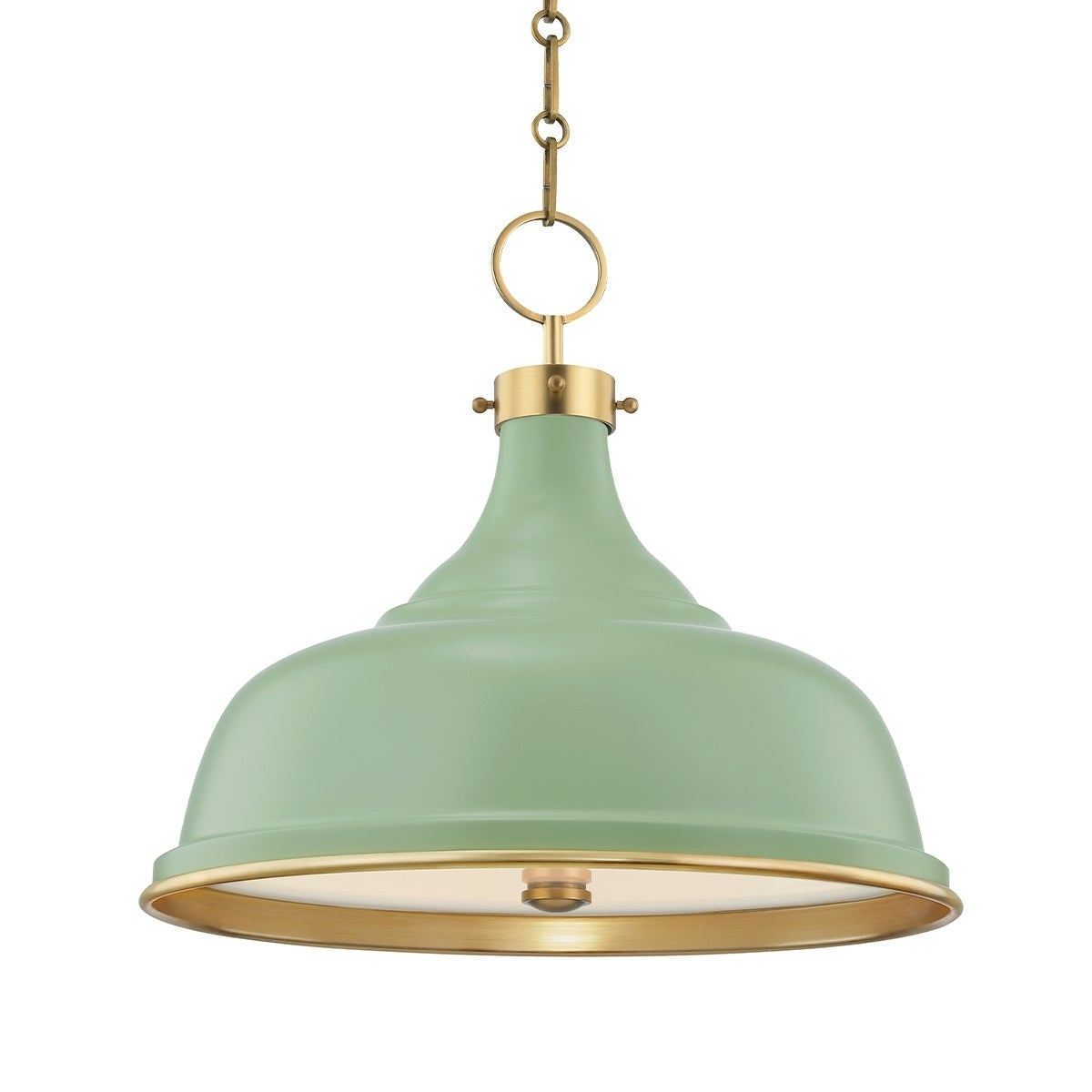 Hudson Valley Painted No 1 By Mark D Sikes 3 Light Aged Brass Pendant With Leaf Green Shade Overstock 31525194