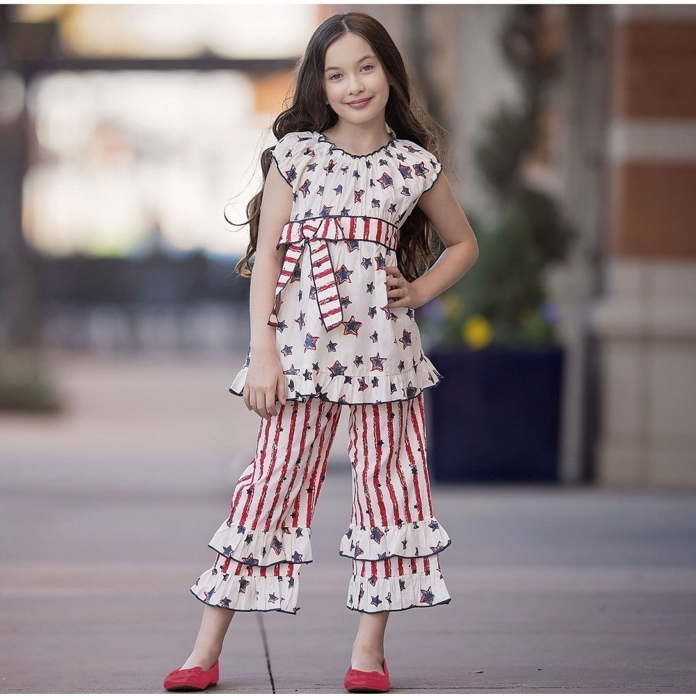 6116c0ab1 Shop AnnLoren Girls Red 4th Of July Star Stripe Tunic 2 Pc Capri ...