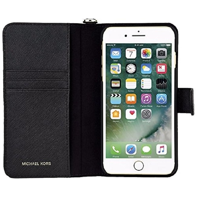 242a05b78 Shop Michael Kors Saffiano Leather Folio Phone Case for iPhone 8 Plus / iPhone  7 Plus - Black - Free Shipping Today - Overstock - 22903230