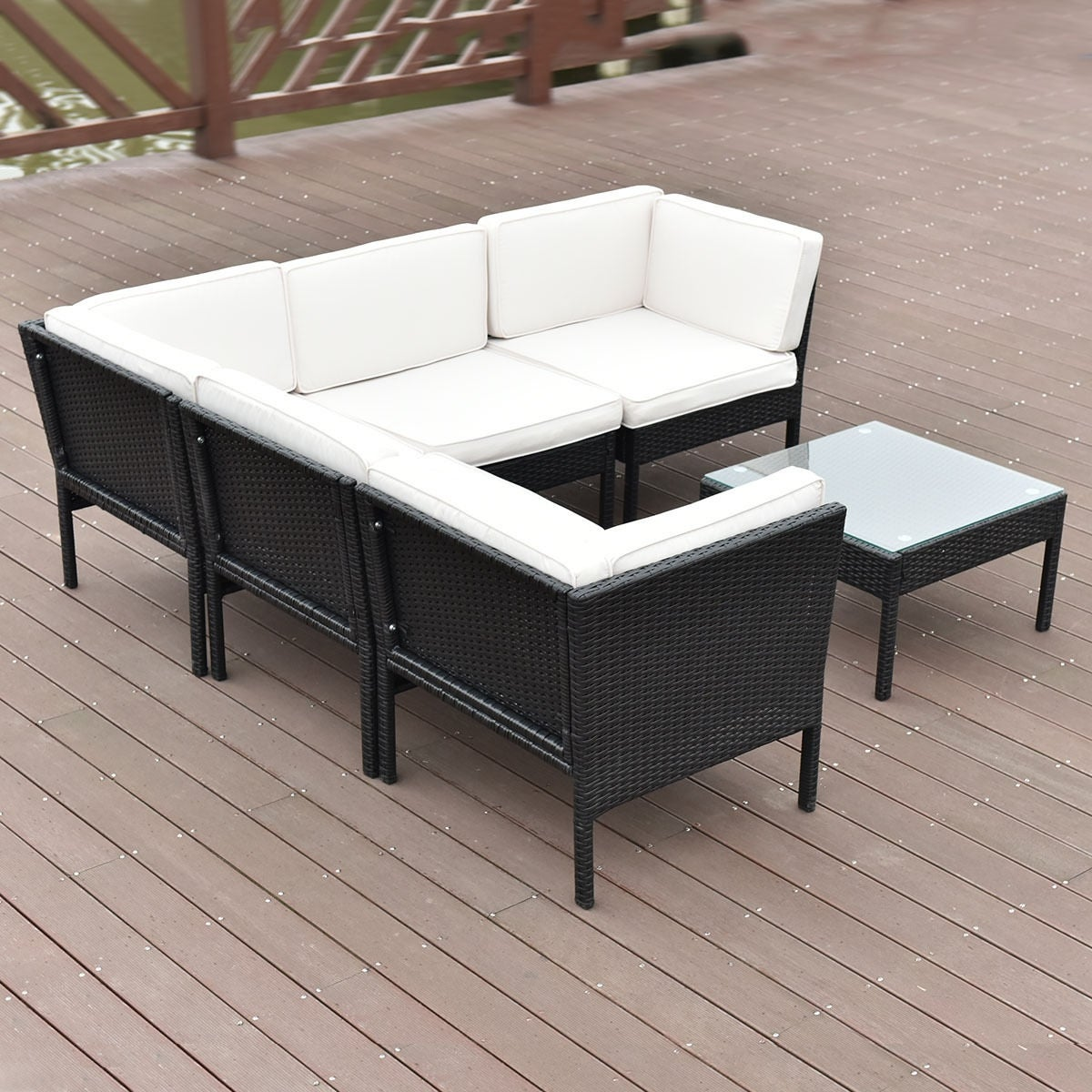Shop Costway 6 PCS Rattan Wicker Patio Furniture Set Steel Frame ...