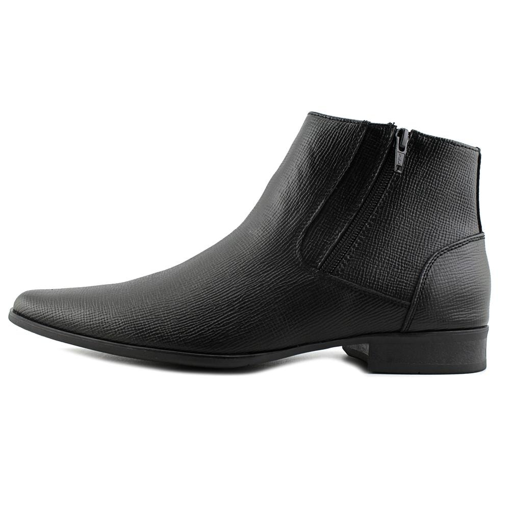 7ecd6679826 Calvin Klein Beck Epi Men Plain Toe Leather Black Bootie
