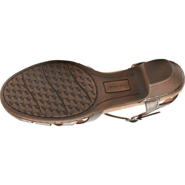 e4cc94a9864 Rockport Women's Cobb Hill Aubrey T Strap Sandal Pewter Leather