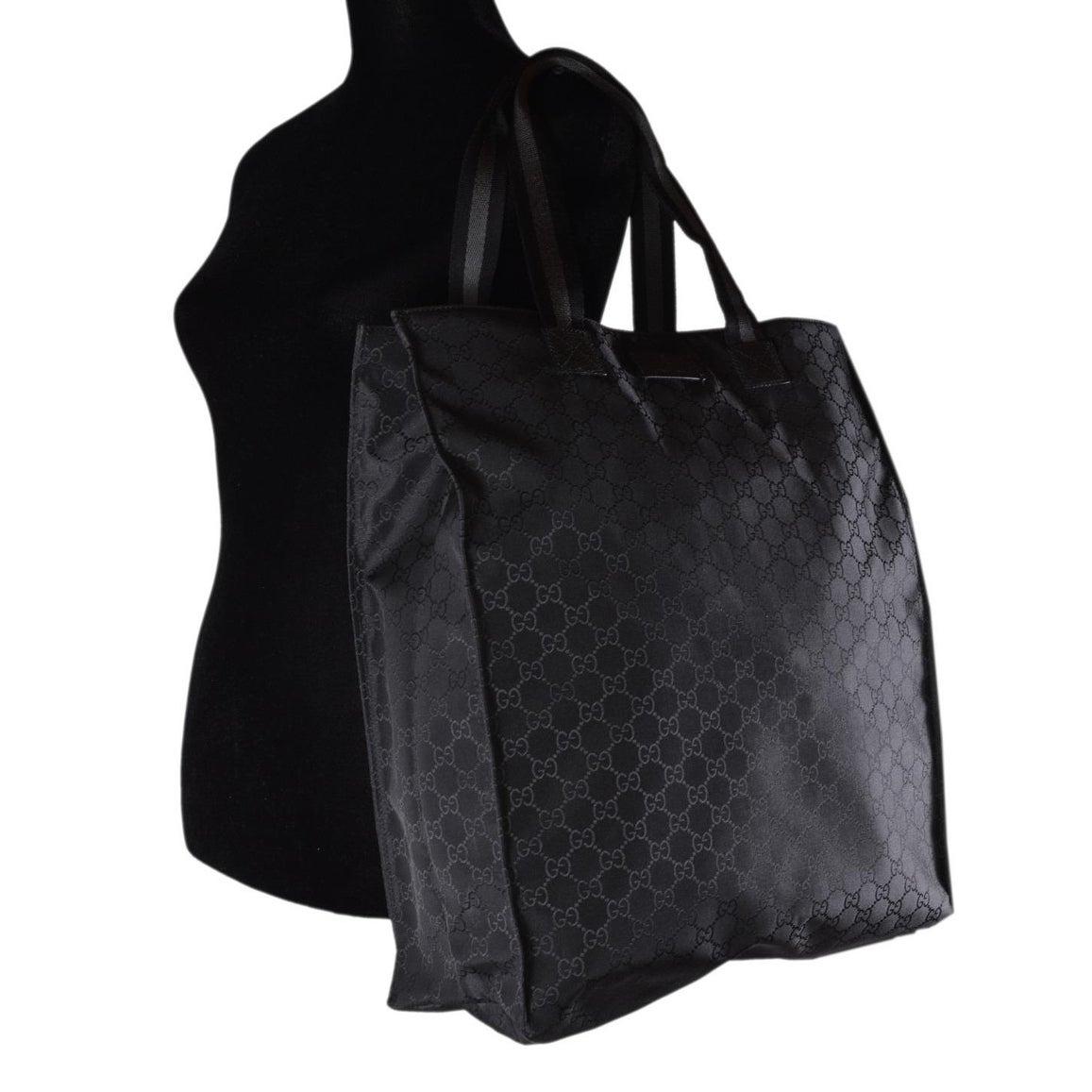 344fa5e5472 Shop Gucci 449177 Black Nylon Tonal GG Guccissima Top Handle Tall Tote Bag  Purse - Free Shipping Today - Overstock - 28443504