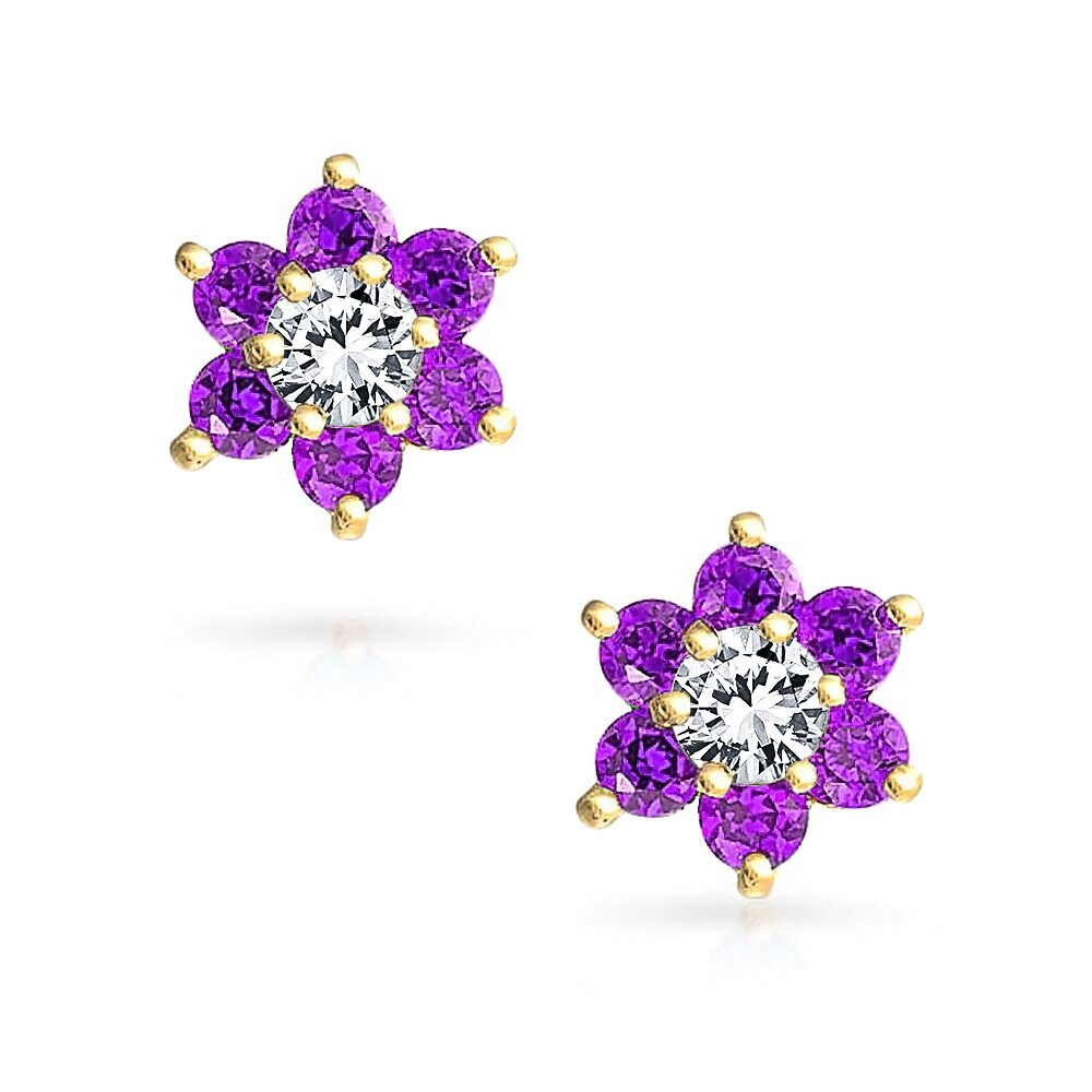 Bling Jewelry 14k Gold Purple Cz Flower Baby Safety Back Stud Earrings On Free Shipping Today 17985495