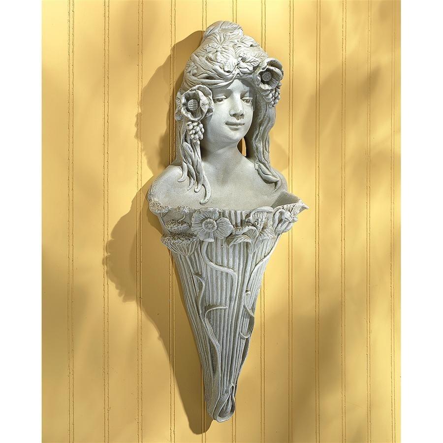 Art Nouveau Poppy Princess Wall Pocket Planter Sculpture - Free ...