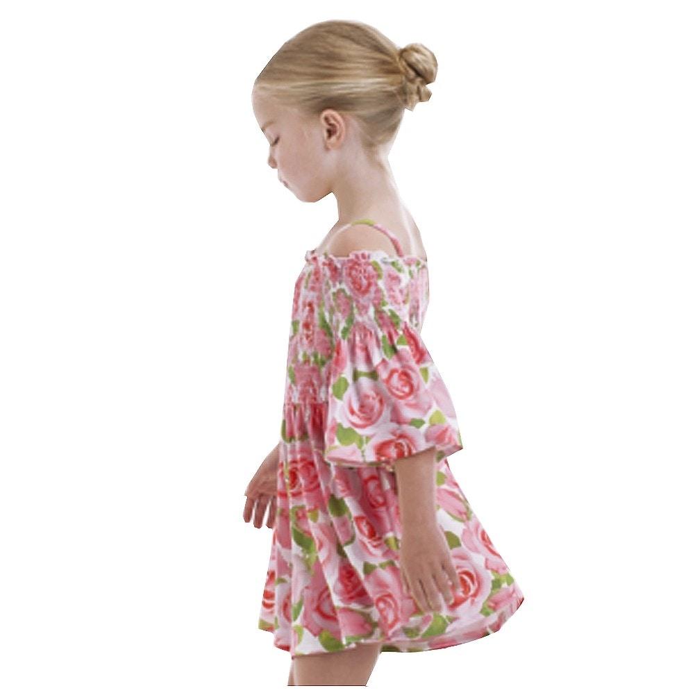 05229c27c6b0 Shop Kate Mack Little Girls Pink Rose Flower Allover Print Off-Shoulder  Romper - Free Shipping On Orders Over  45 - Overstock - 25489858