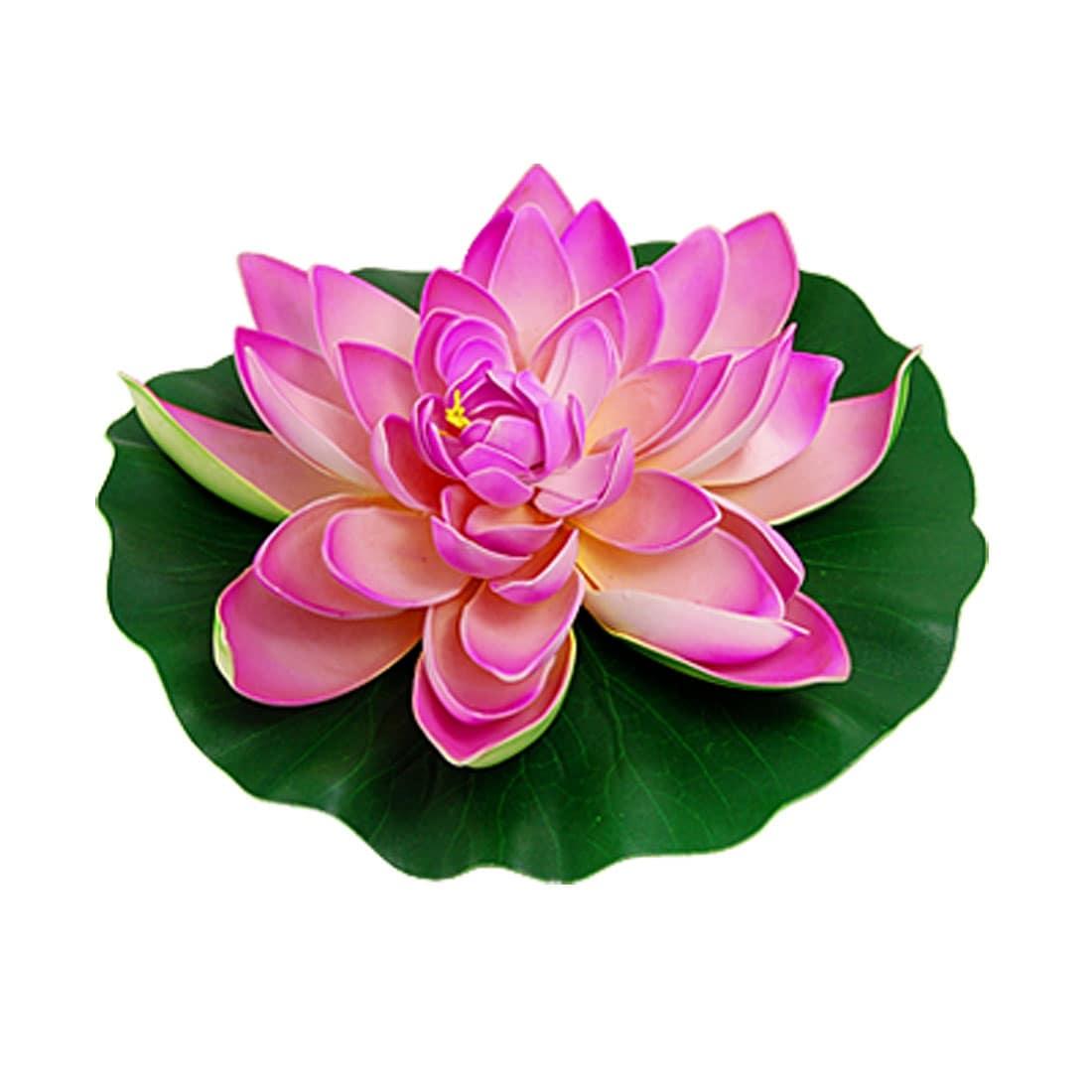 Unique Bargains Aquarium Decoration Green Leaf Pink Lotus Flower