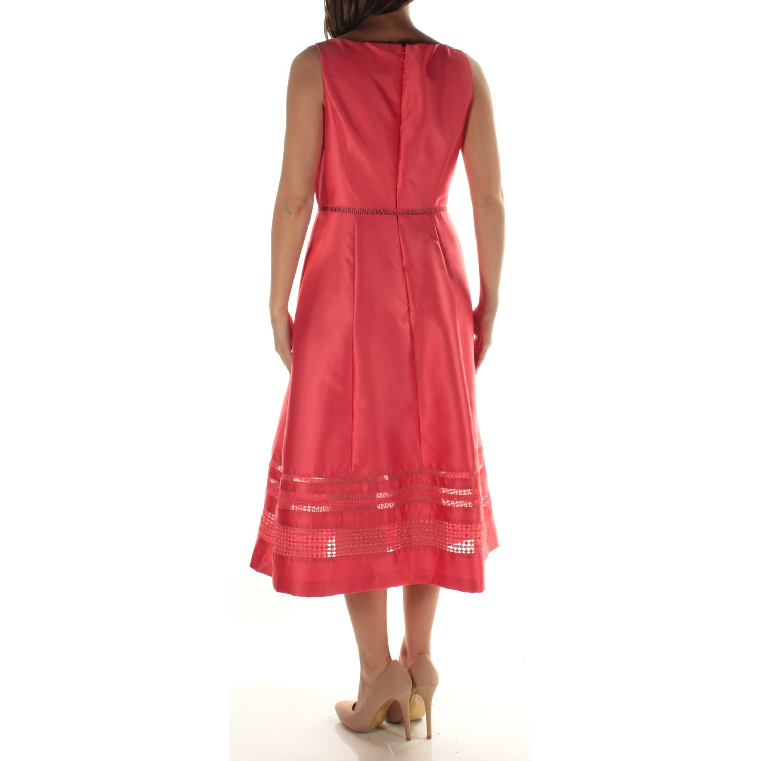 23f8d66909197 Shop ADRIANNA PAPELL Womens Coral Lace Sleeveless V Neck Midi Fit + Flare Dress  Size  6 - Free Shipping On Orders Over  45 - Overstock - 21388629