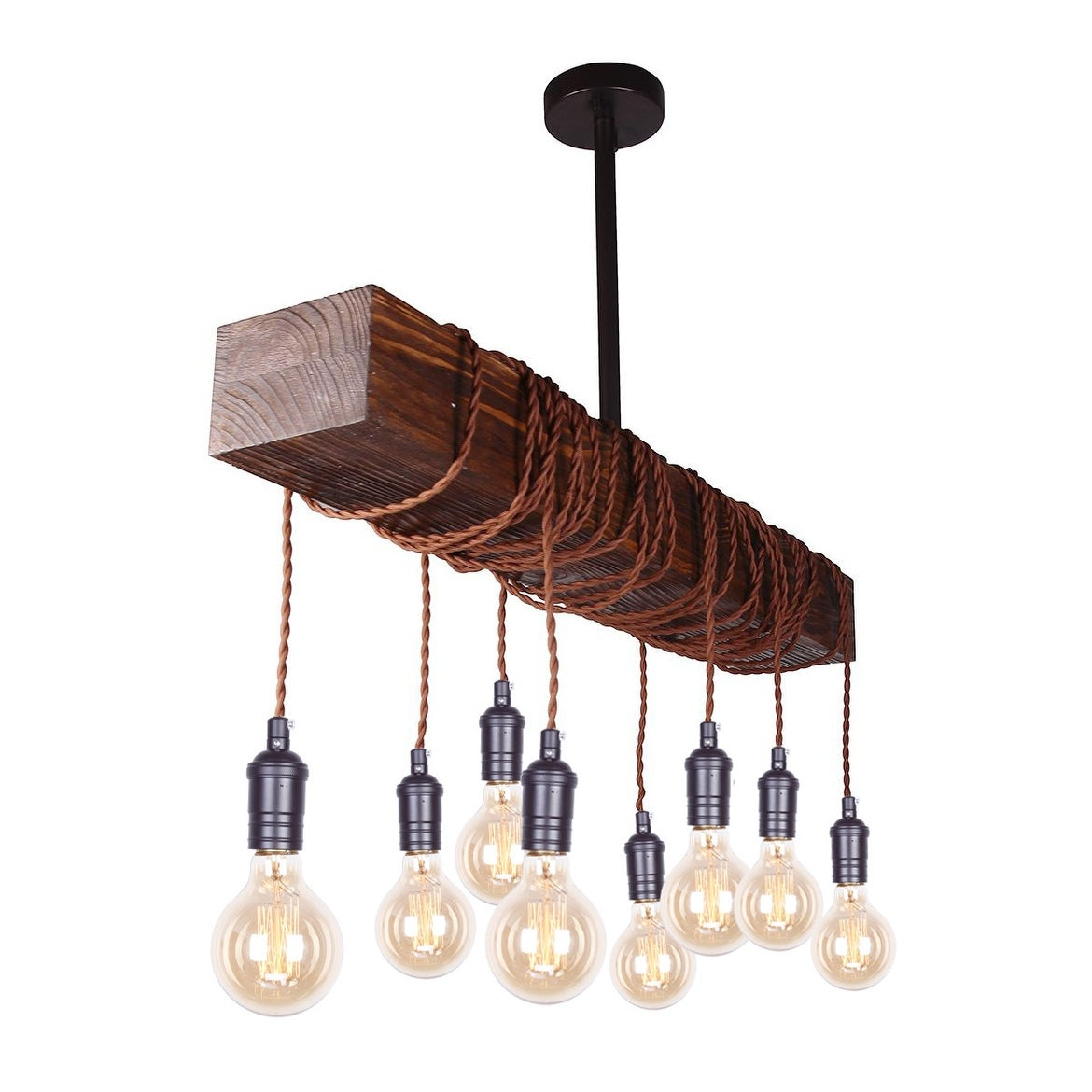 Shop farmhouse 8 light distressed wood beam chandelier on sale free shipping today overstock com 19427716