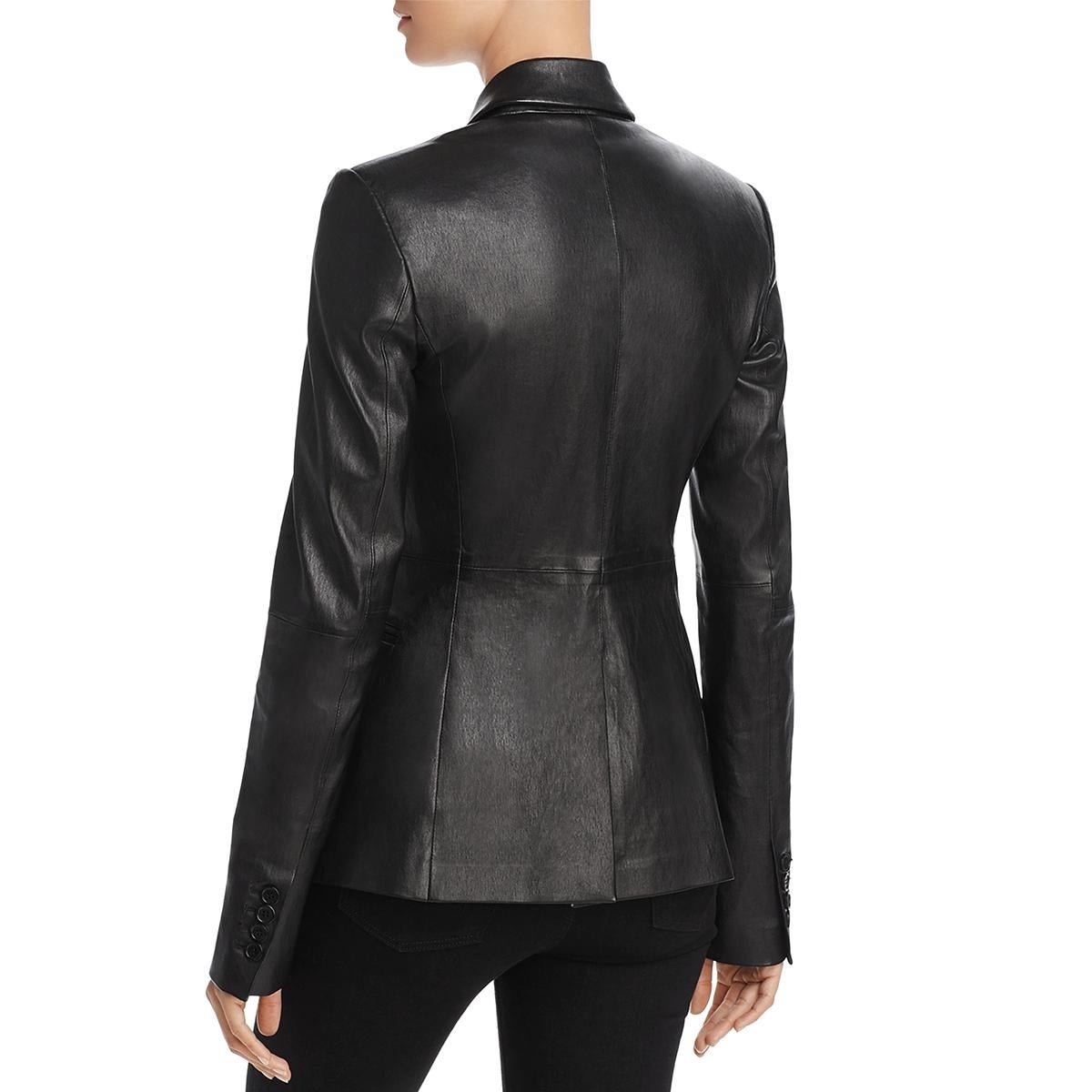 ce5f5077a Theory Womens Bristol Leather Jacket Winter Double Breasted