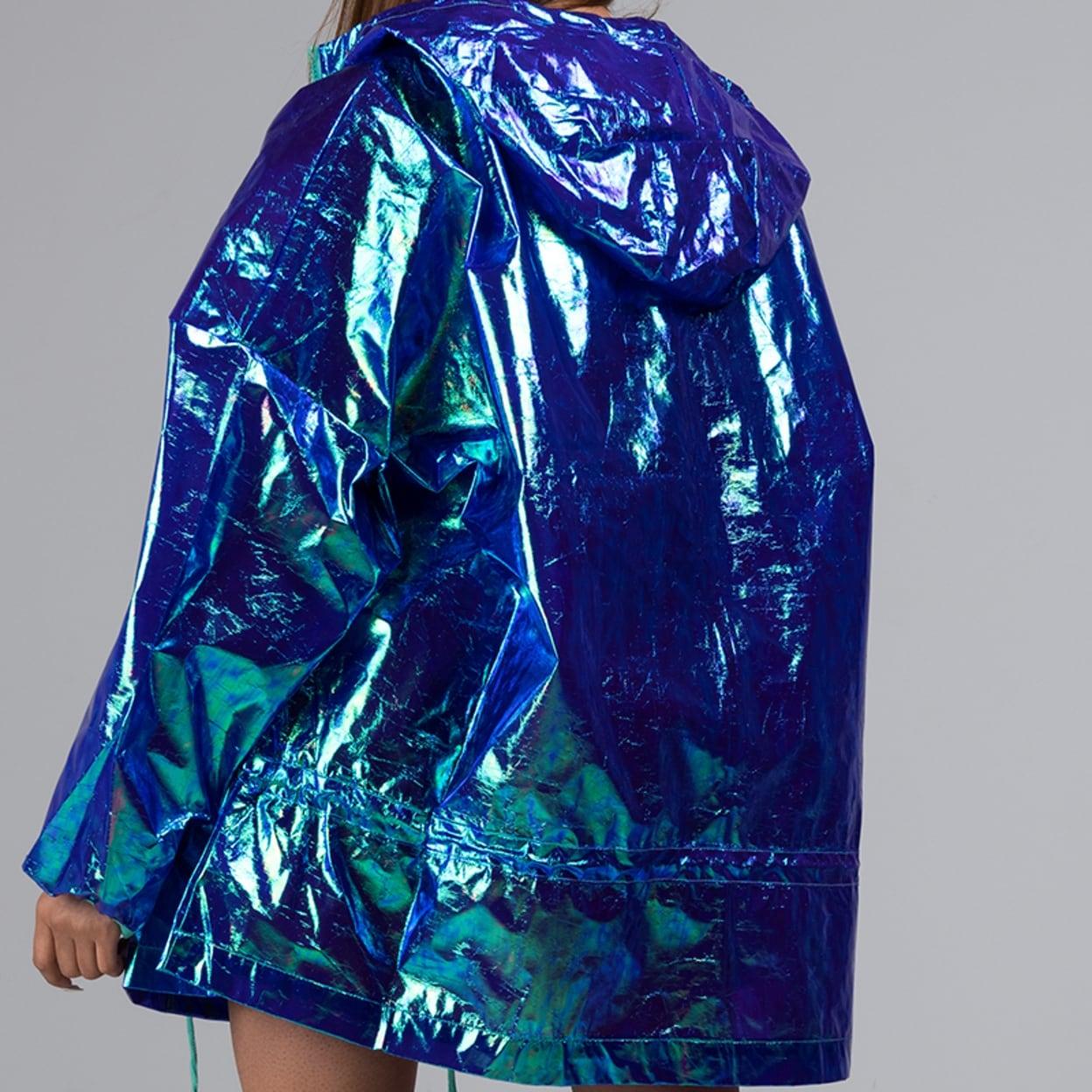 2b735f503efc Shop AKIRA Women s Iridescent Shiny Hologram Hooded Zip Front Party Rain  Jacket Coat - Free Shipping Today - Overstock - 25779064