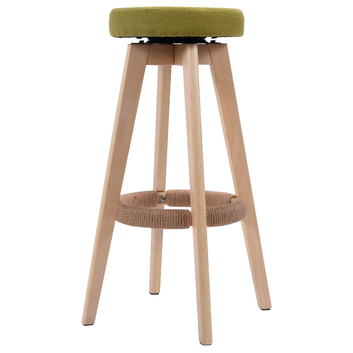 Costway 29 Inch Winsome Round Wood Bar Stool Dining Chair Counter Height Linen Seat Green On Free Shipping Orders Over 45