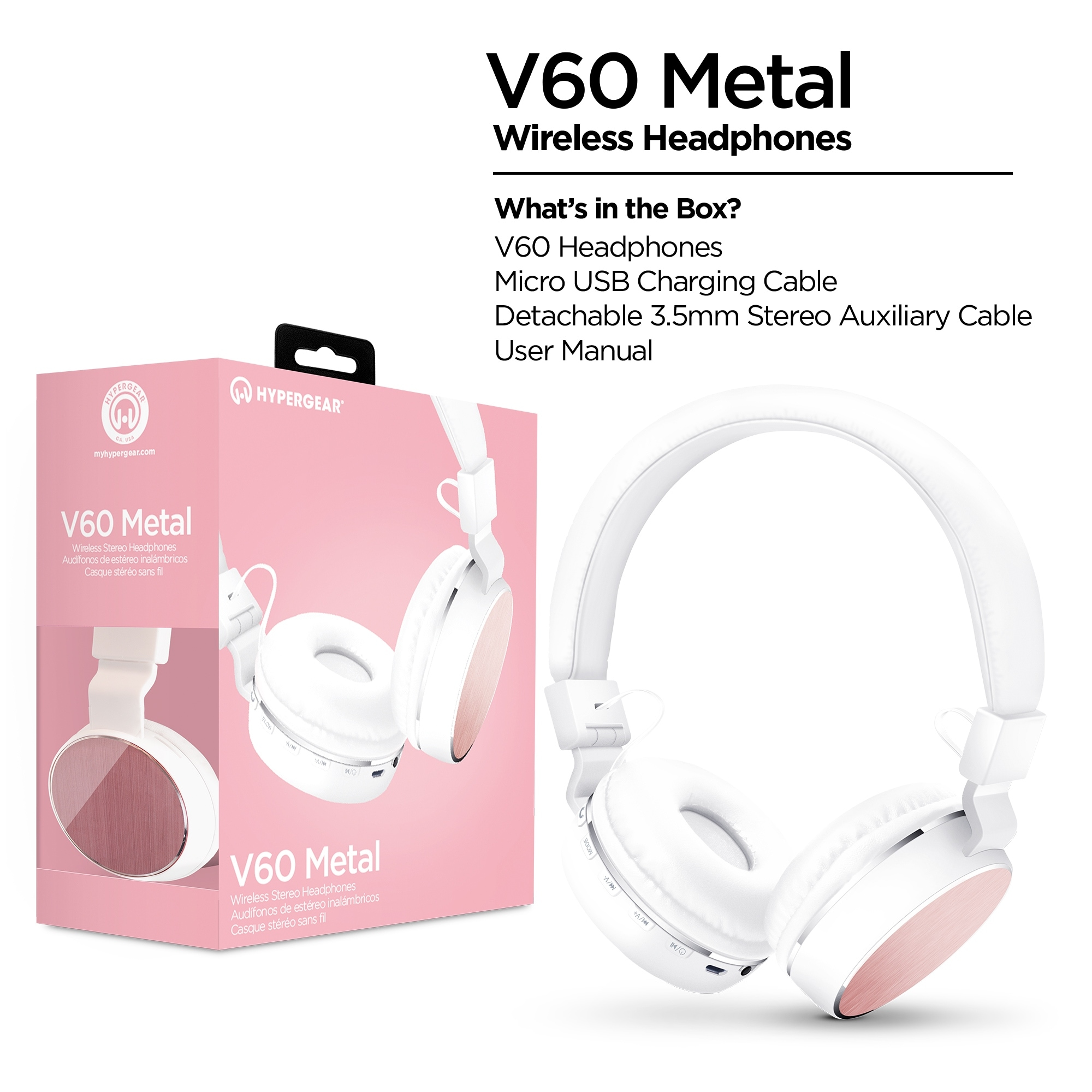 HyperGear V60 Bluetooth Wireless Headphones White/Pink (14252)