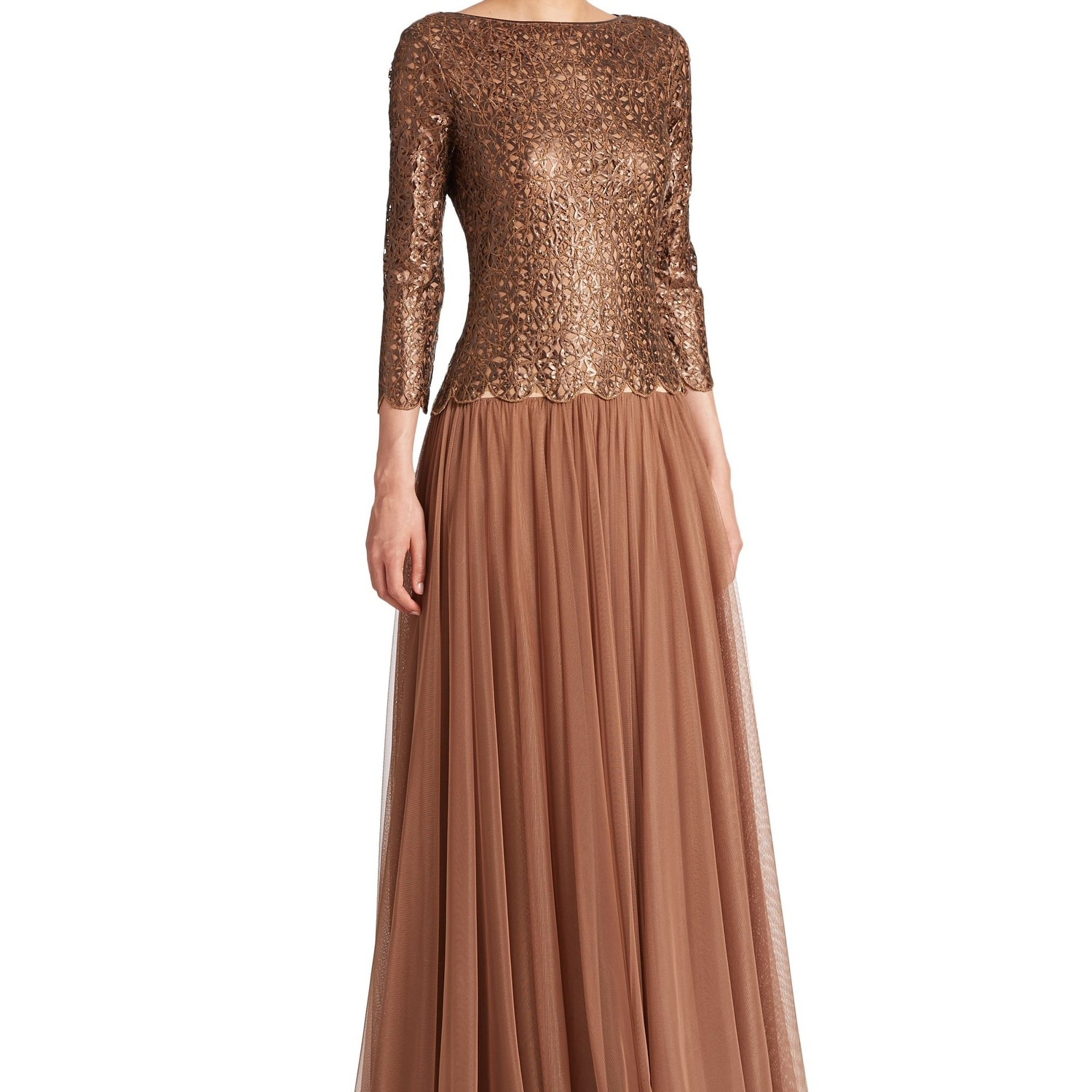 8bef5a37a2d8 Shop Tadashi Shoji Cutout Illusion Long Sleeve Evening Gown Dress Copper -  Free Shipping Today - Overstock - 20284451