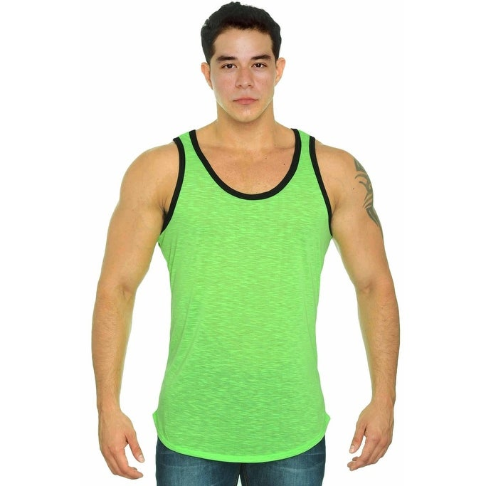0f508275e Shop Men's Tank top 2 Tone Bound self-trim neck & armhole Gym Muscle Shirt  Workout - Free Shipping On Orders Over $45 - Overstock - 12032927