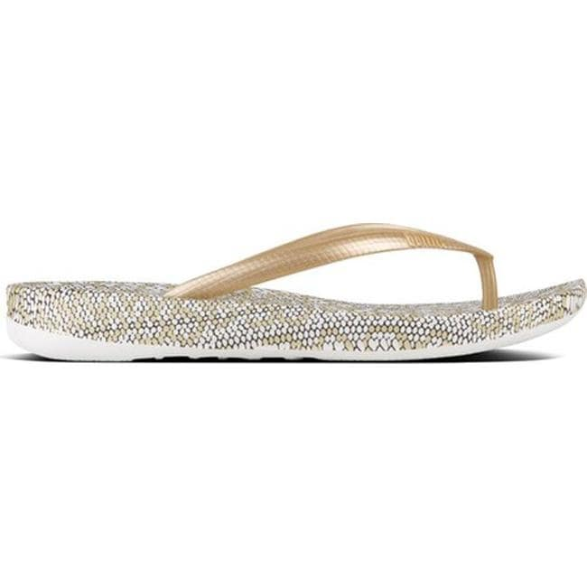 18aa54803483a6 Shop FitFlop Women s iQushion Ergonomic Flip-Flop Gold Mix Snake ...