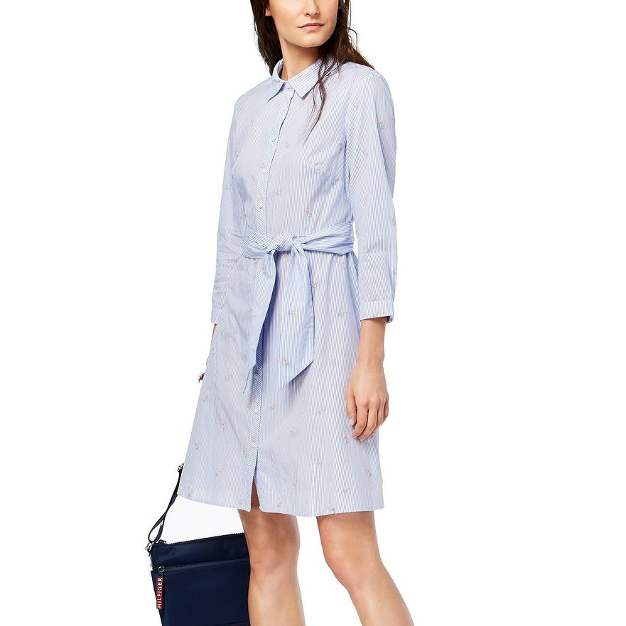 4779baae6 Shop Tommy Hilfiger Blue Womens Size 4 Embroidered Striped Shirt Dress -  Free Shipping Today - Overstock - 28329693