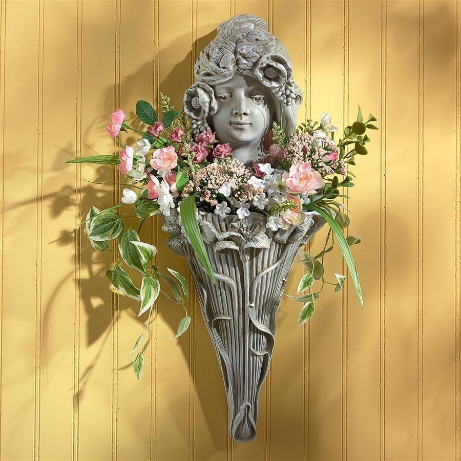 Design Toscano Art Nouveau Poppy Princess Wall Pocket Planter ...