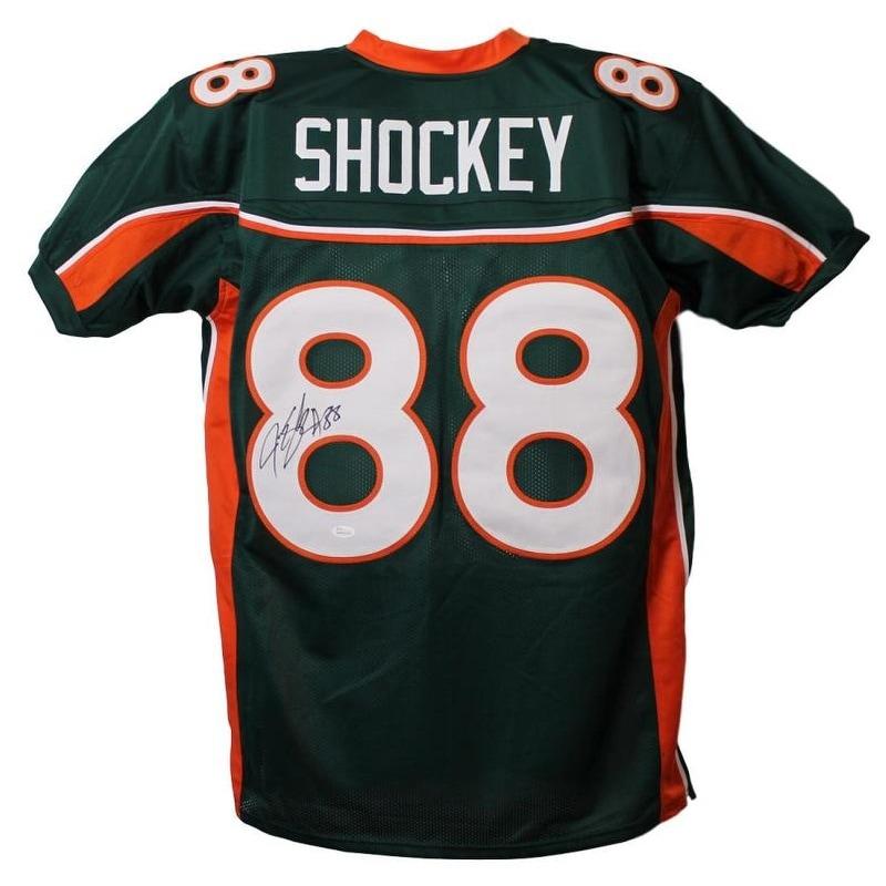 buy online c00a3 54af3 Jeremy Shockey Autographed Miami Hurricanes XL Green Jersey JSA