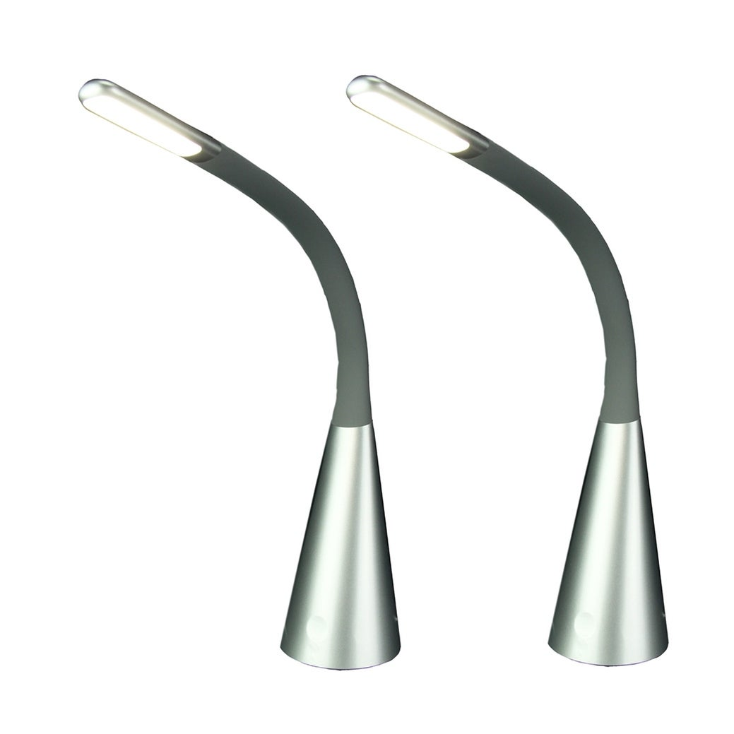 Set Of 2 Tensor Silver Finish Flexible Gooseneck Table Lamps