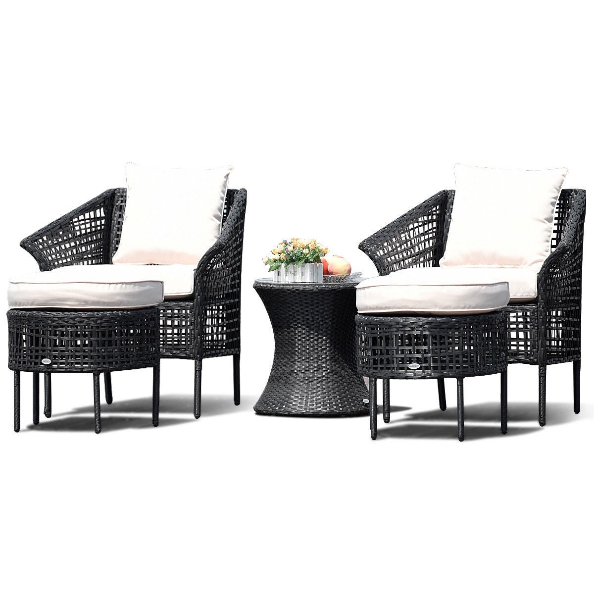 Shop Costway 5 PCS Patio Furniture Dining Sets Leisure Set Rattan Seats Table  Ottoman Beige - as pic - Free Shipping Today - Overstock.com - 22349494 - Shop Costway 5 PCS Patio Furniture Dining Sets Leisure Set Rattan