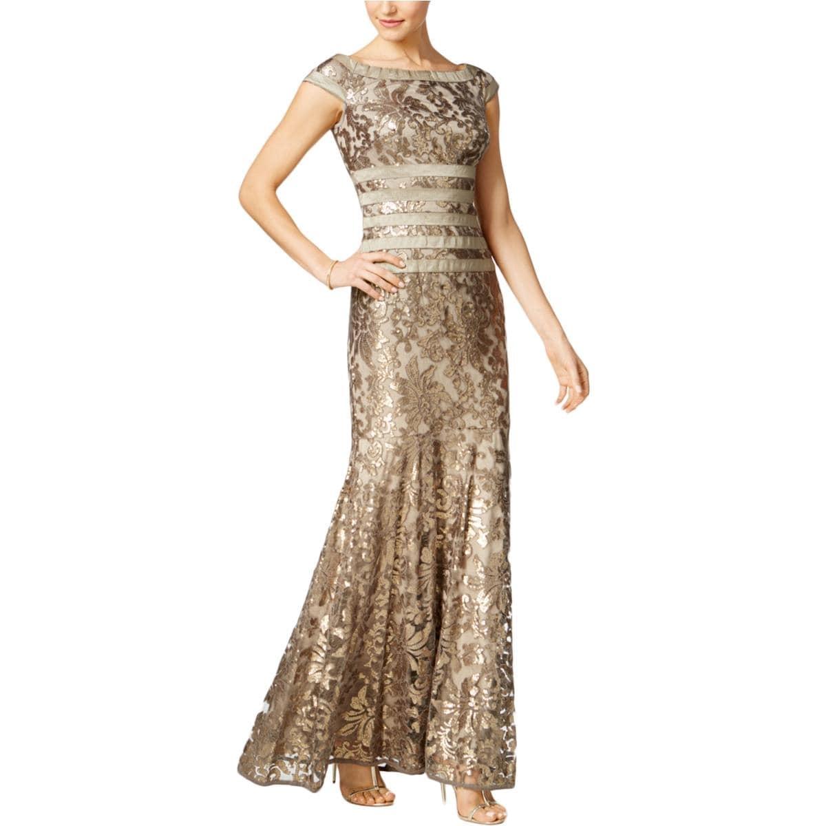 Shop Tadashi Shoji Womens Evening Dress Metallic Sequined - Free ...