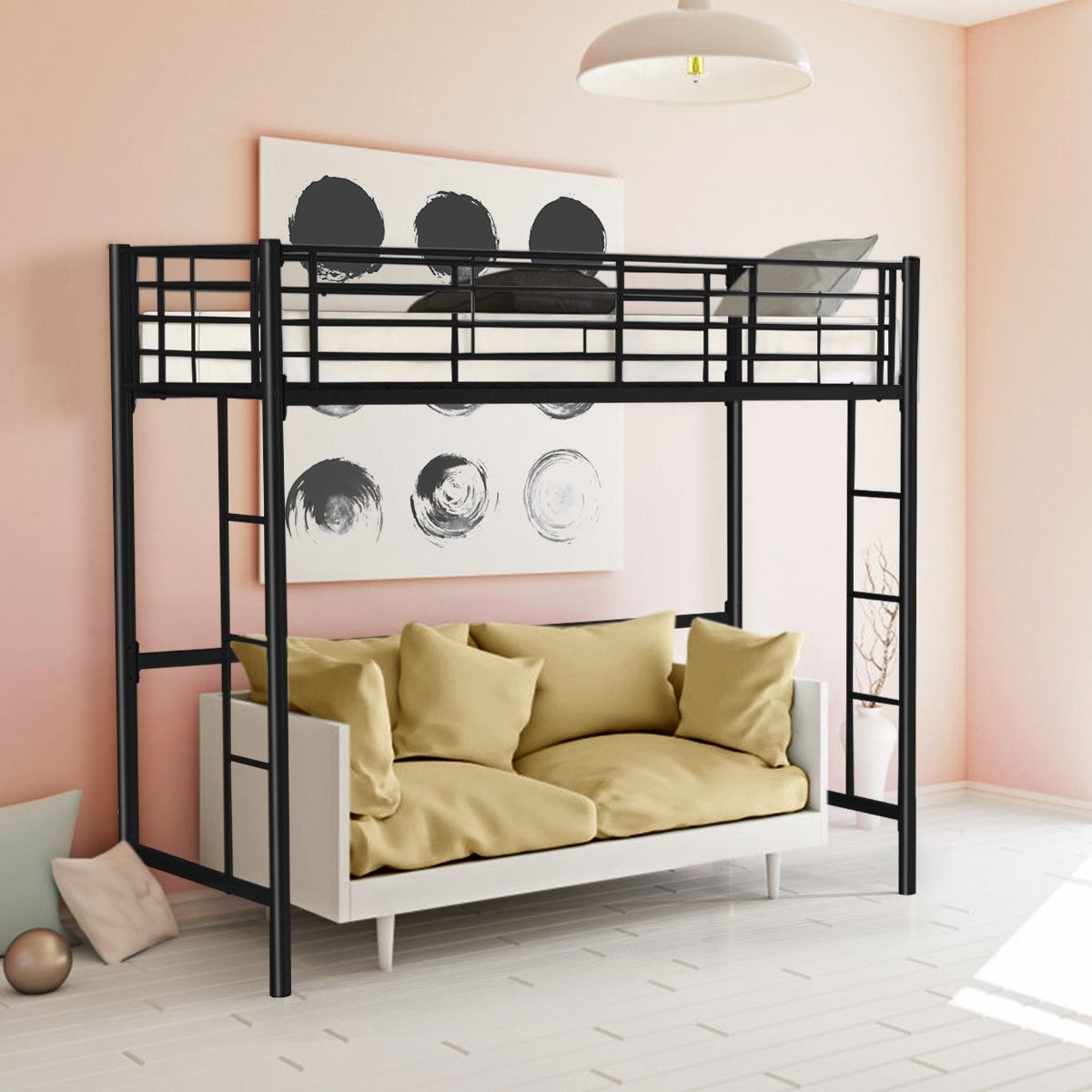 Shop Gymax Twin Loft Bed Metal Bunk Ladder Beds Boys Girls Teens
