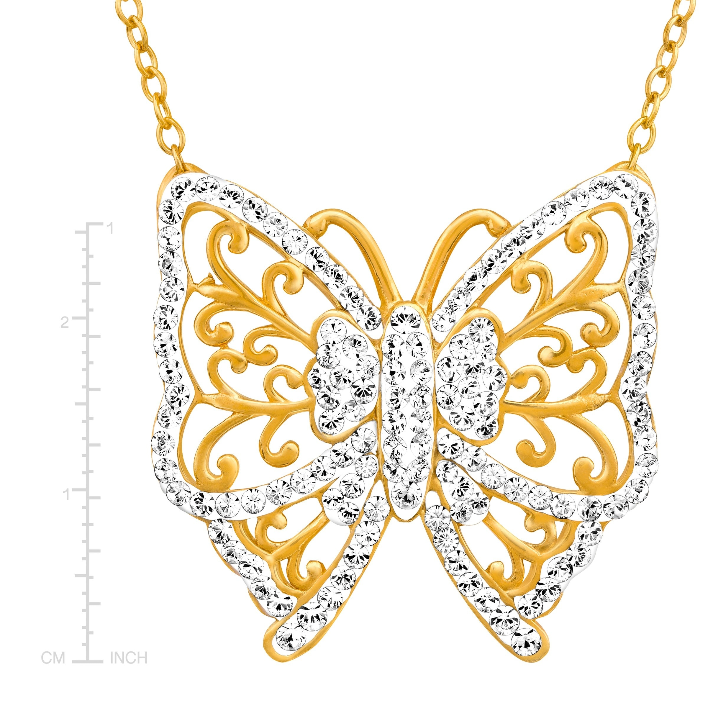 de72712bed9bd Crystaluxe Butterfly Necklace with Swarovski Crystals in 18K Gold-Plated  Sterling Silver