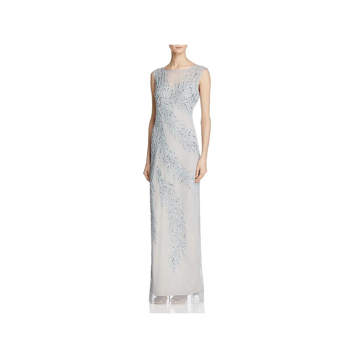 Shop Adrianna Papell Womens Evening Dress Beaded Illusion - Free ...