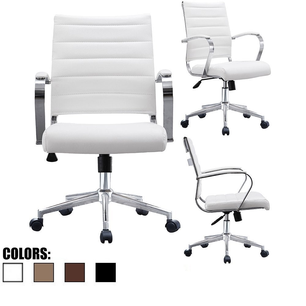 2xhome Office Chairs Mid Back Ribbed Pu Leather White Conference Room Tilt Work Desk Manager Task Executive Lumber Support Boss On Free