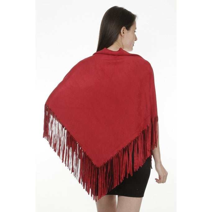 68cb5181c Shop Women's Faux Suede Fringed Cape Shawl Wrap Scarf, Large Triangle - 56