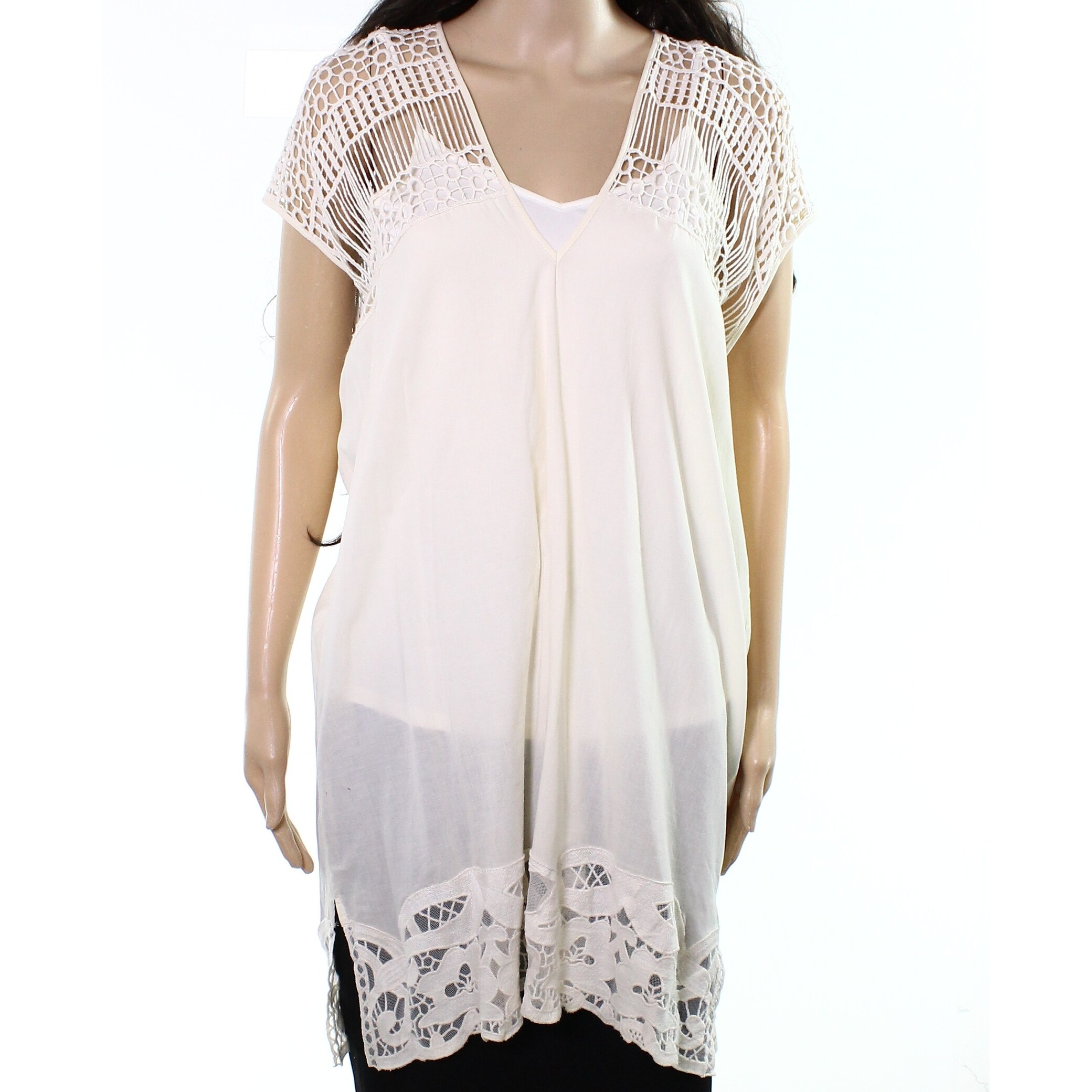 c82eba4a804148 Melrose and Market NEW White Ivory Womens Size Small S Crochet Tunic Top -  Free Shipping On Orders Over  45 - Overstock.com - 26532688