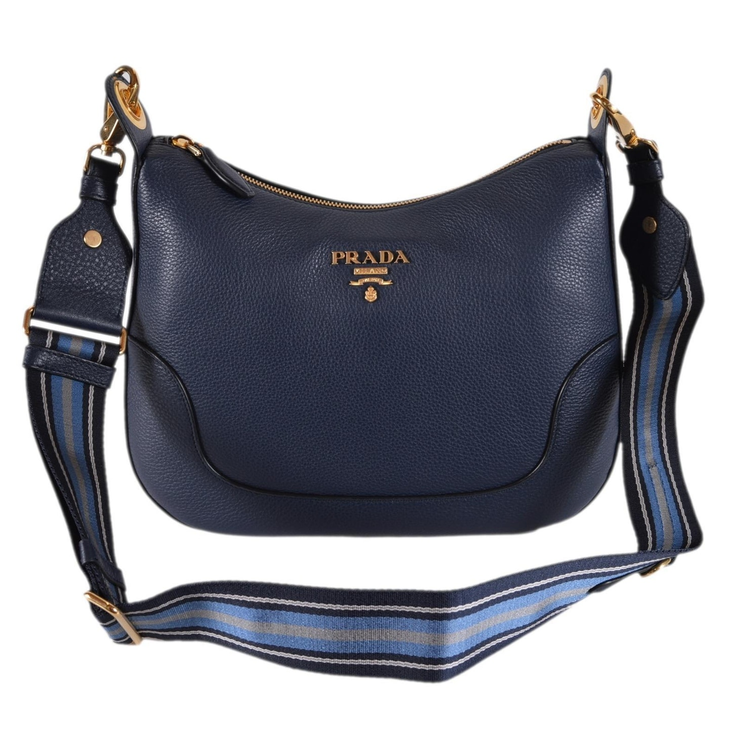 7670aa507735 Shop Prada 1BC052 Baltico Soft Leather Daino Stripe Strap Crossbody Purse  Bag - Blue - Free Shipping Today - Overstock - 26395800