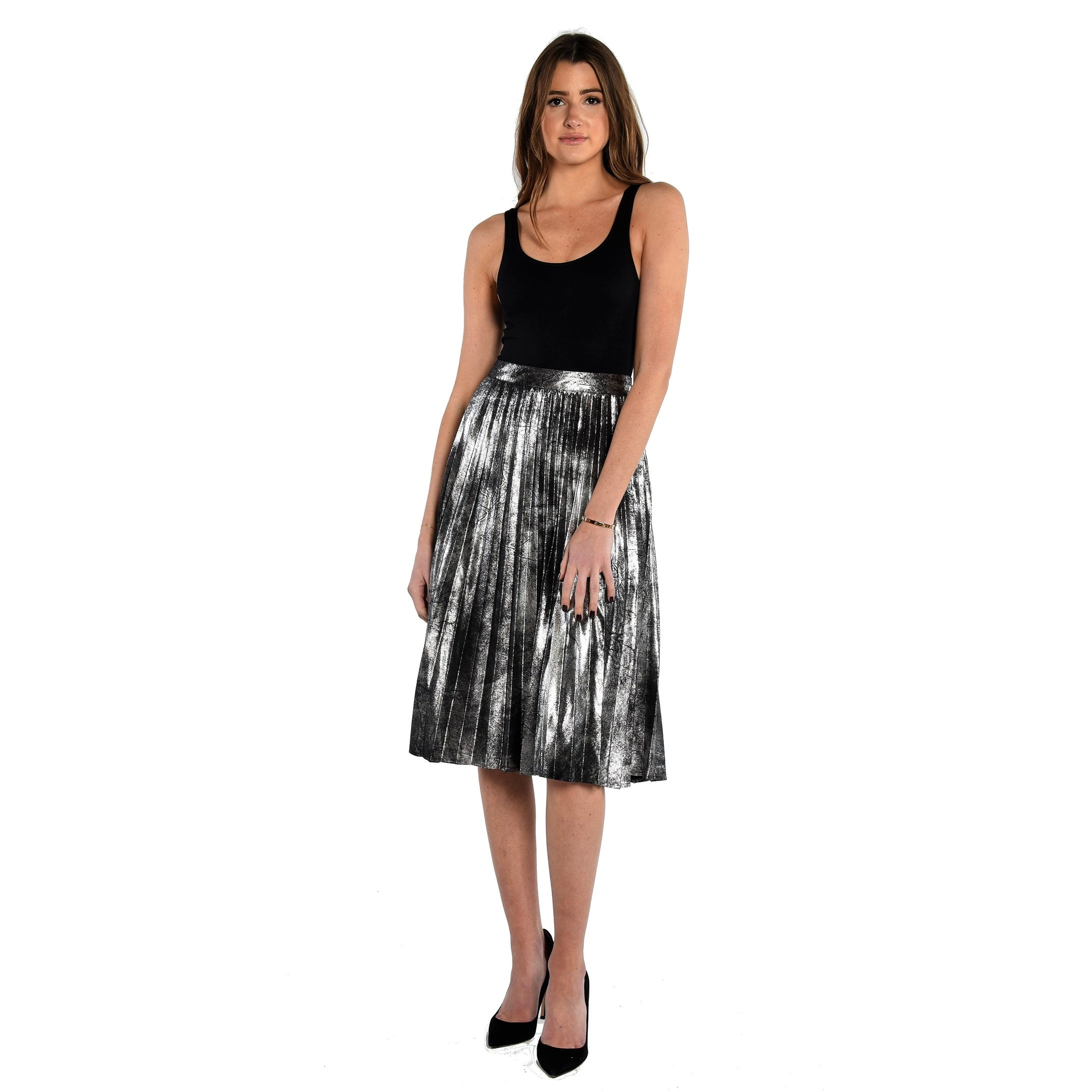 f95c3364bb Shop Vince Camuto Foiled Suede Pleated Skirt - Free Shipping Today -  Overstock - 20467440