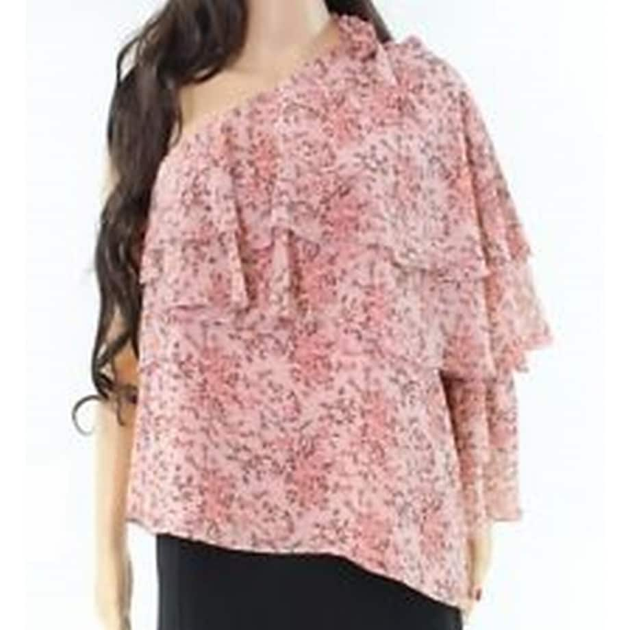 Wayf New Pink Floral Printed Tiered One Shoulder Chiffon Small S