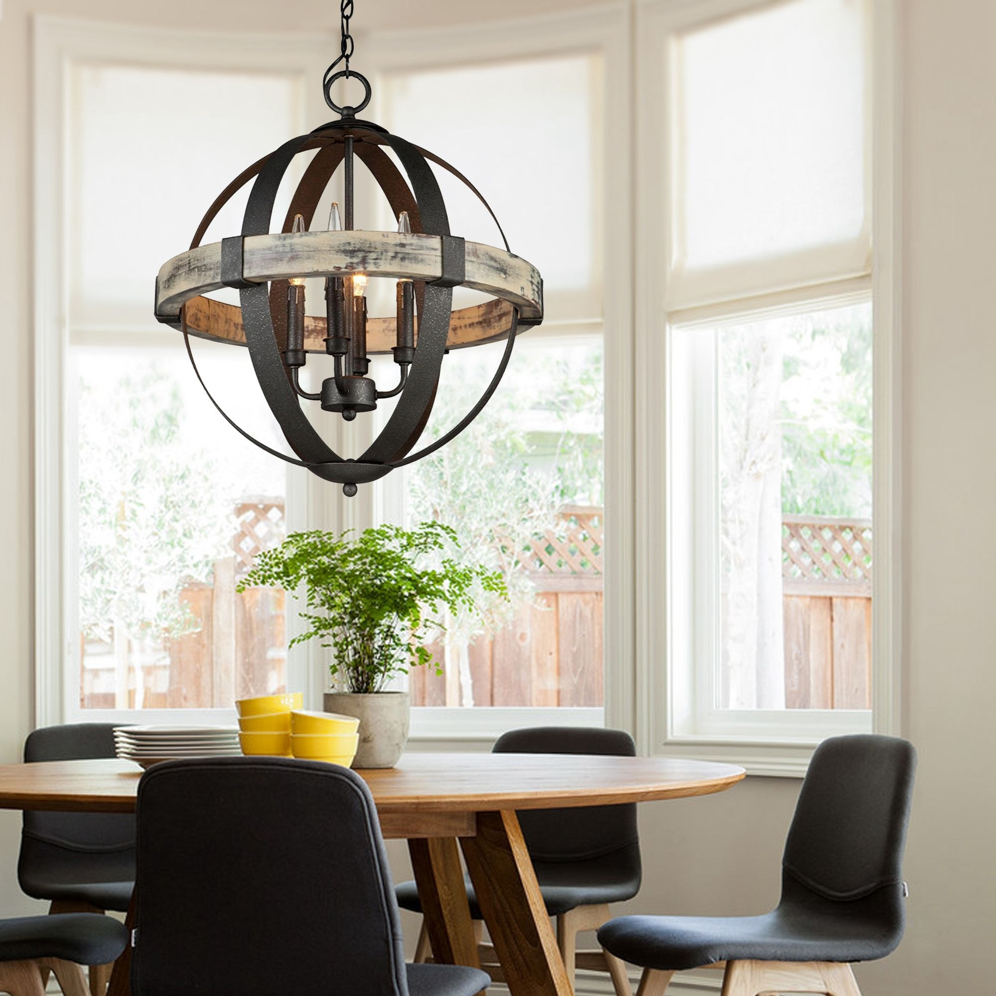 Castello 4 Light Wood Orb Chandelier Free Shipping Today