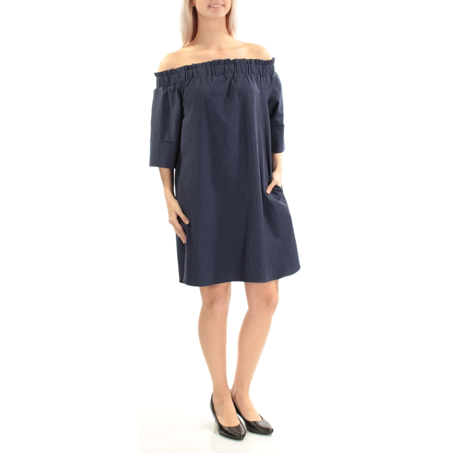 c963250fd8aa Shop RACHEL ROY Womens Navy Ruffled Pinstripe Short Sleeve Off Shoulder  Above The Knee Shift Dress Size  S - Free Shipping On Orders Over  45 -  Overstock - ...