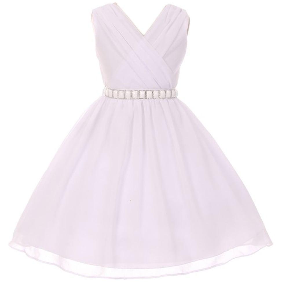 Shop Flower Girl Dress Chiffon Cross Body Style White Mbk 371 Free