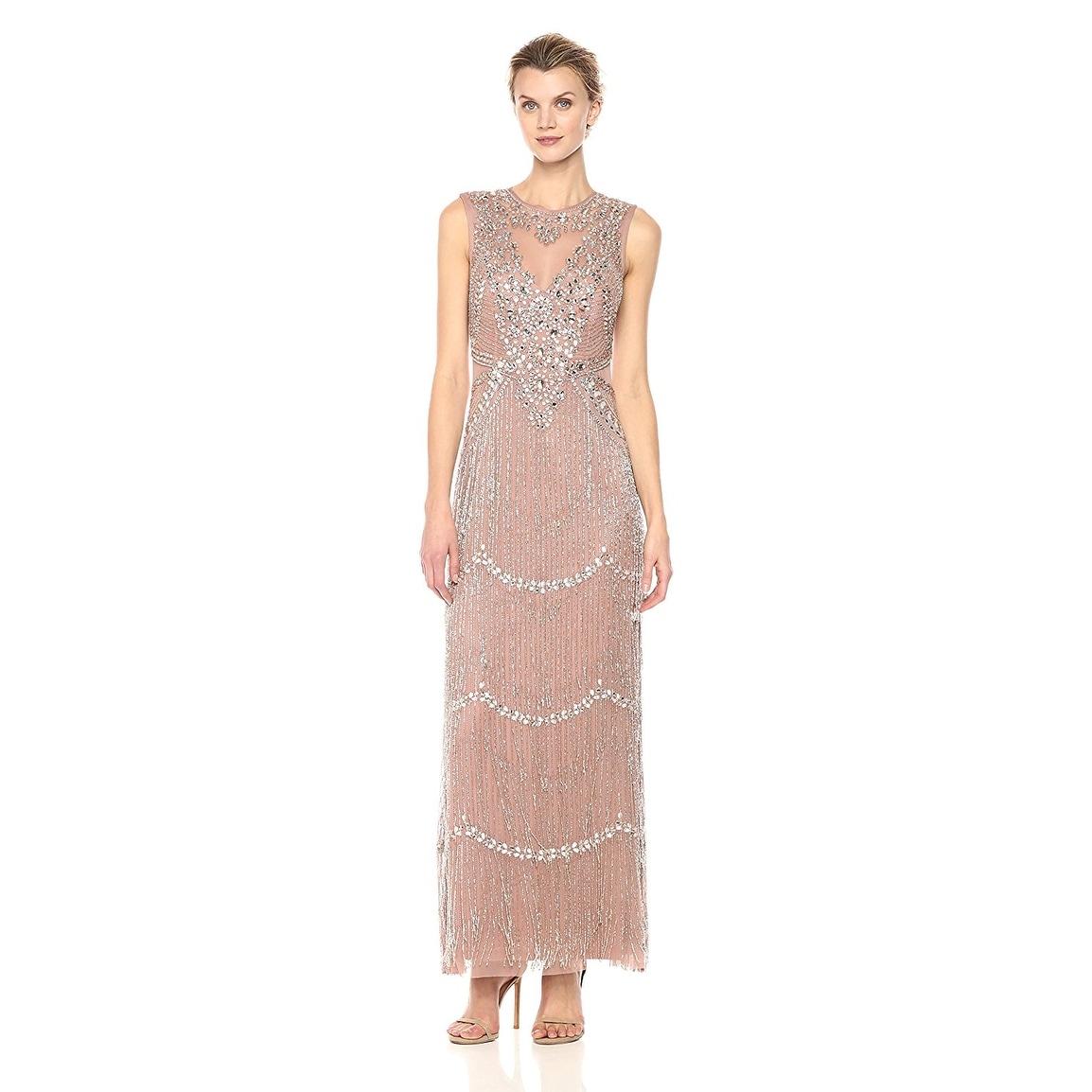 Shop Aidan Mattox Sleeveless Beaded Fringe Evening Gown Dress Rose ...