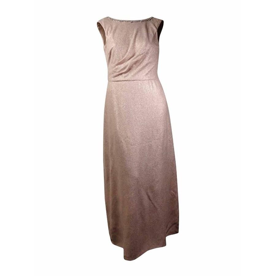 Shop Tahari Women\'s \'Kevin\' Cowl-Back Rhinestone Metallic Gown (6 ...