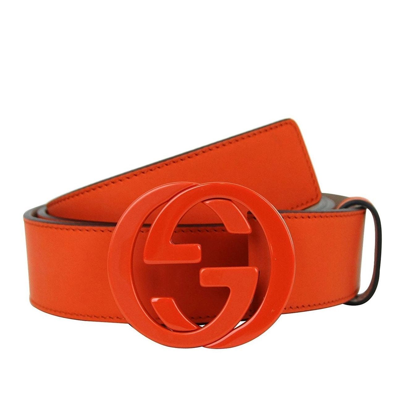 96bb80c4f0f Gucci Men s Orange Leather Interlocking G Buckle Belt 223891 7519 (110    44) - 110   44