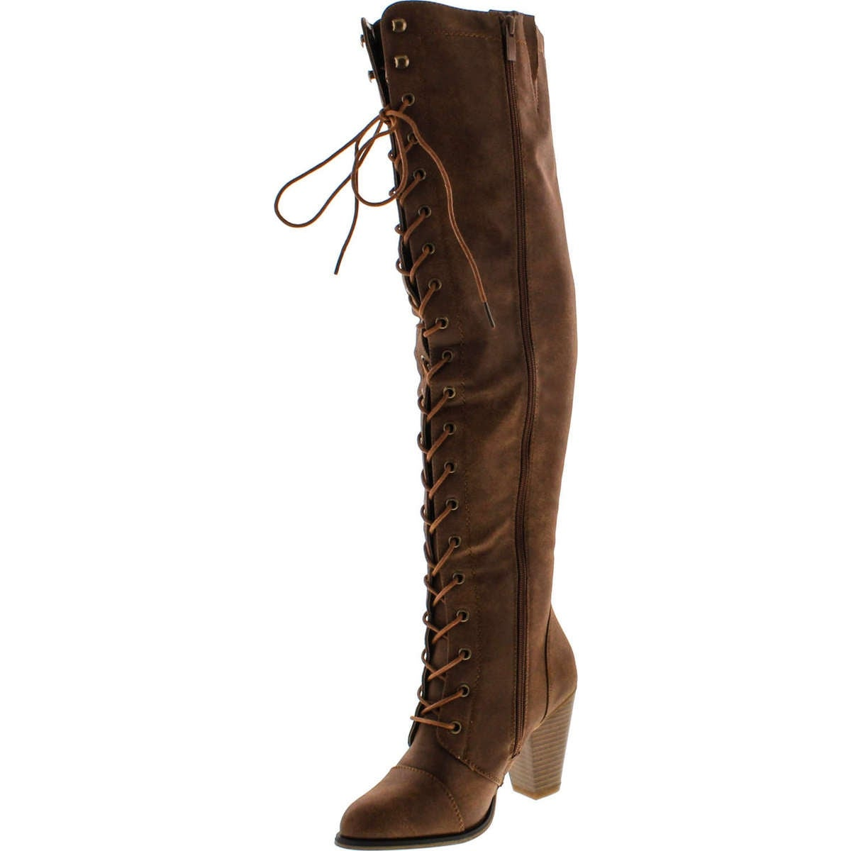 7874fce504c Forever Camila-48 Womens Chunky Heel Lace Up Over The Knee High Riding Boots