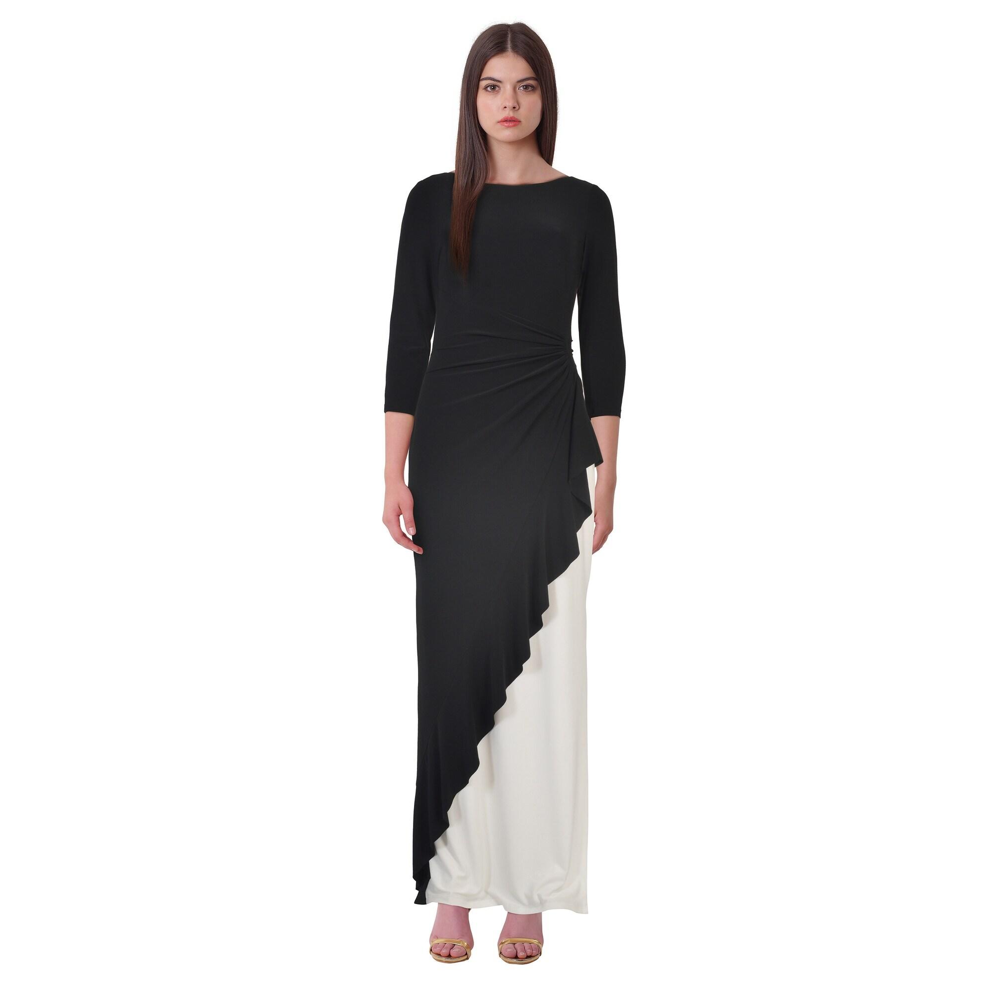 276c9eed4bdf4 Shop Lauren Ralph Lauren Two Tone 3 4 Sleeve Jersey Evening Gown ...